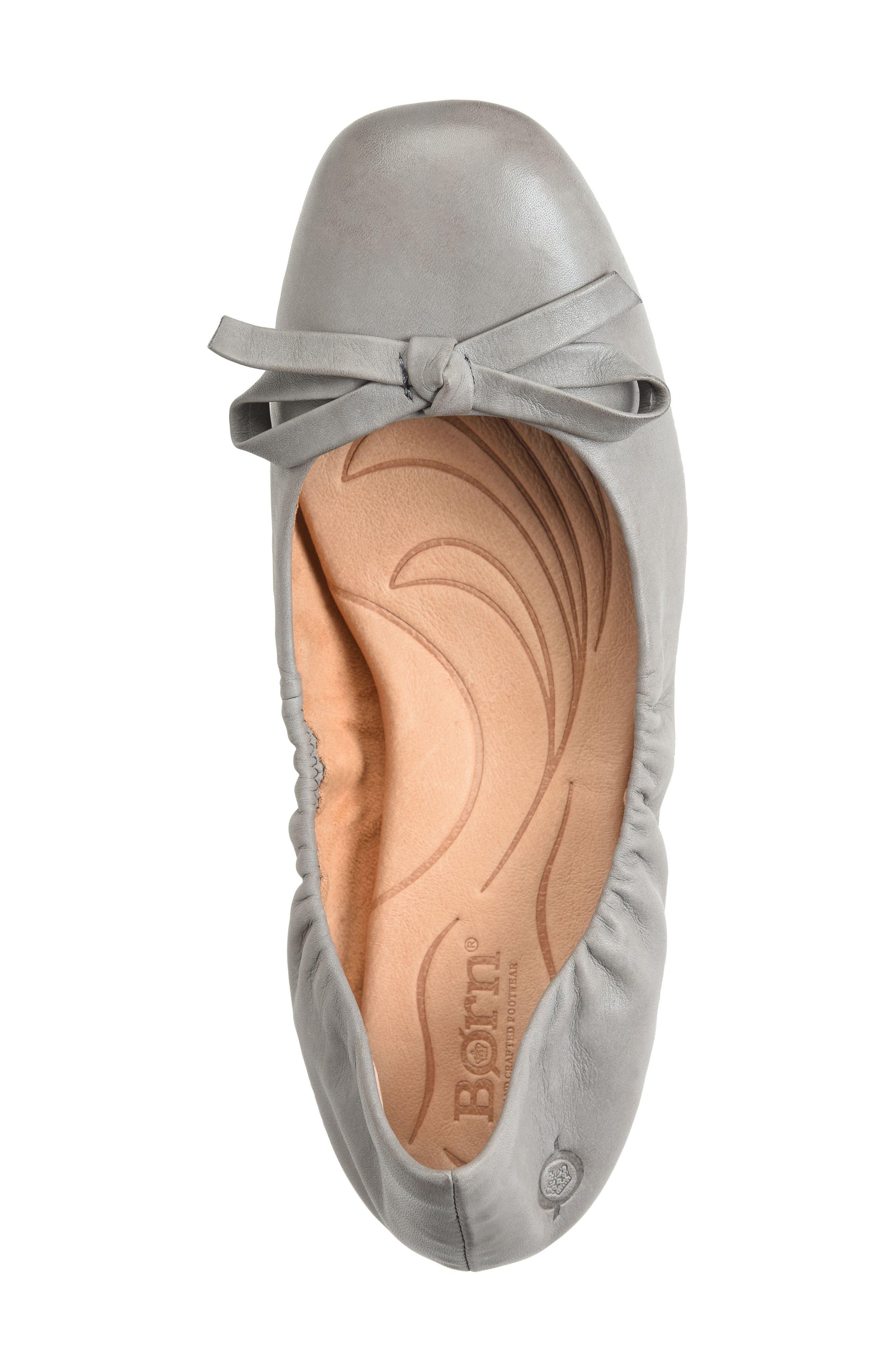 Karoline Ballet Flat,                             Alternate thumbnail 3, color,                             Grey Leather