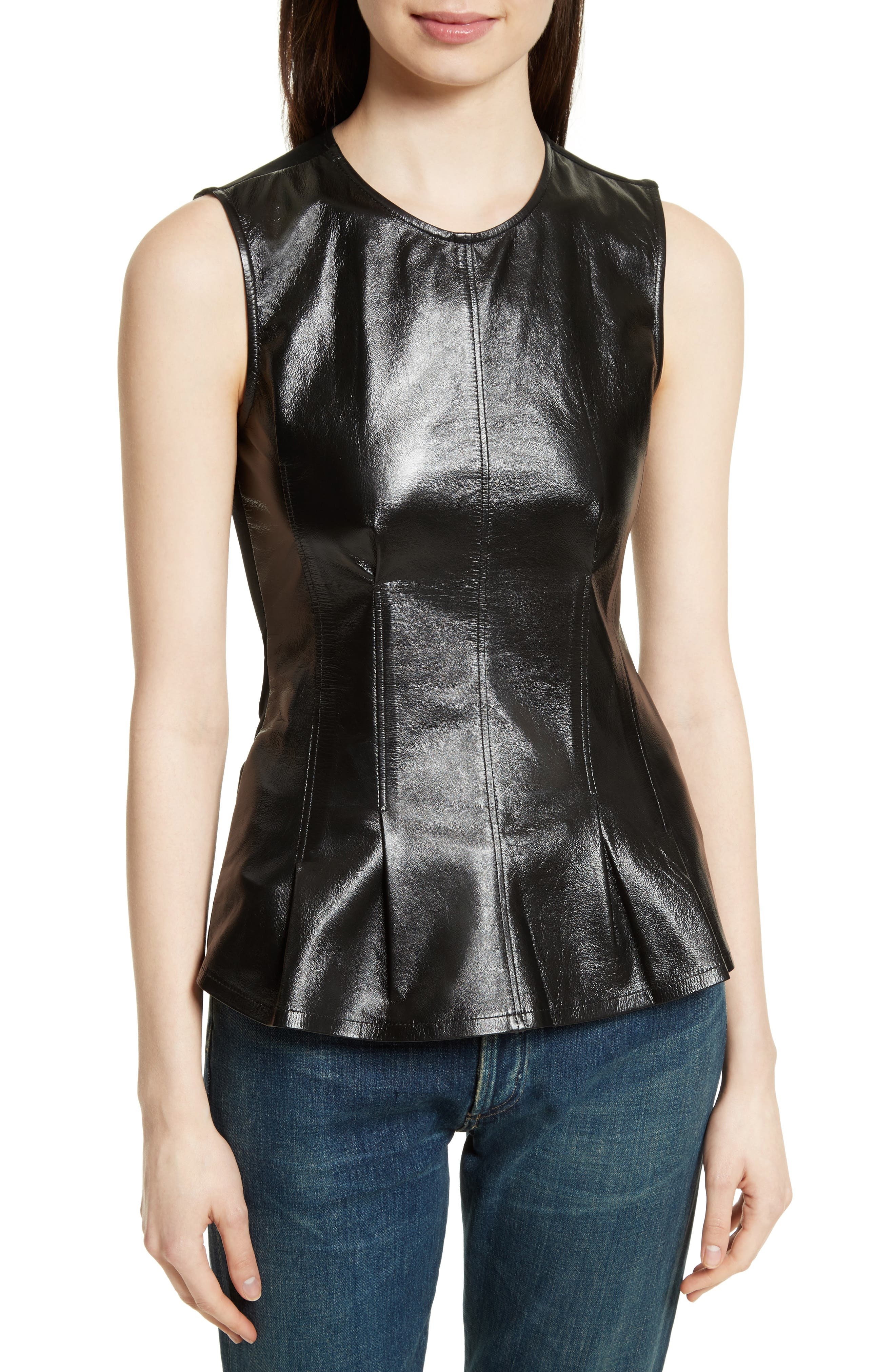 Darted Paper Leather Mix Media Top,                         Main,                         color, Black