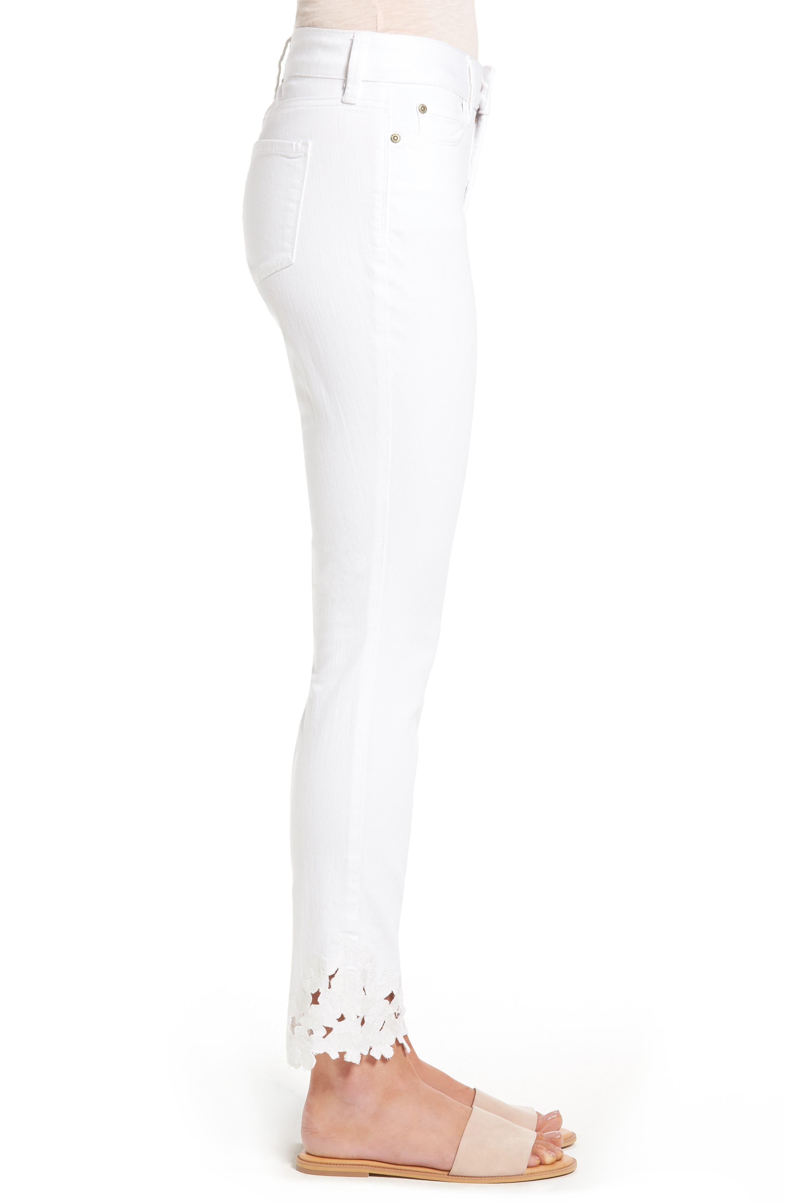 Alternate Image 4  - NYDJ Alina Eyelet Hem Stretch Skinny Jeans (Optic White) (Regular & Petite)