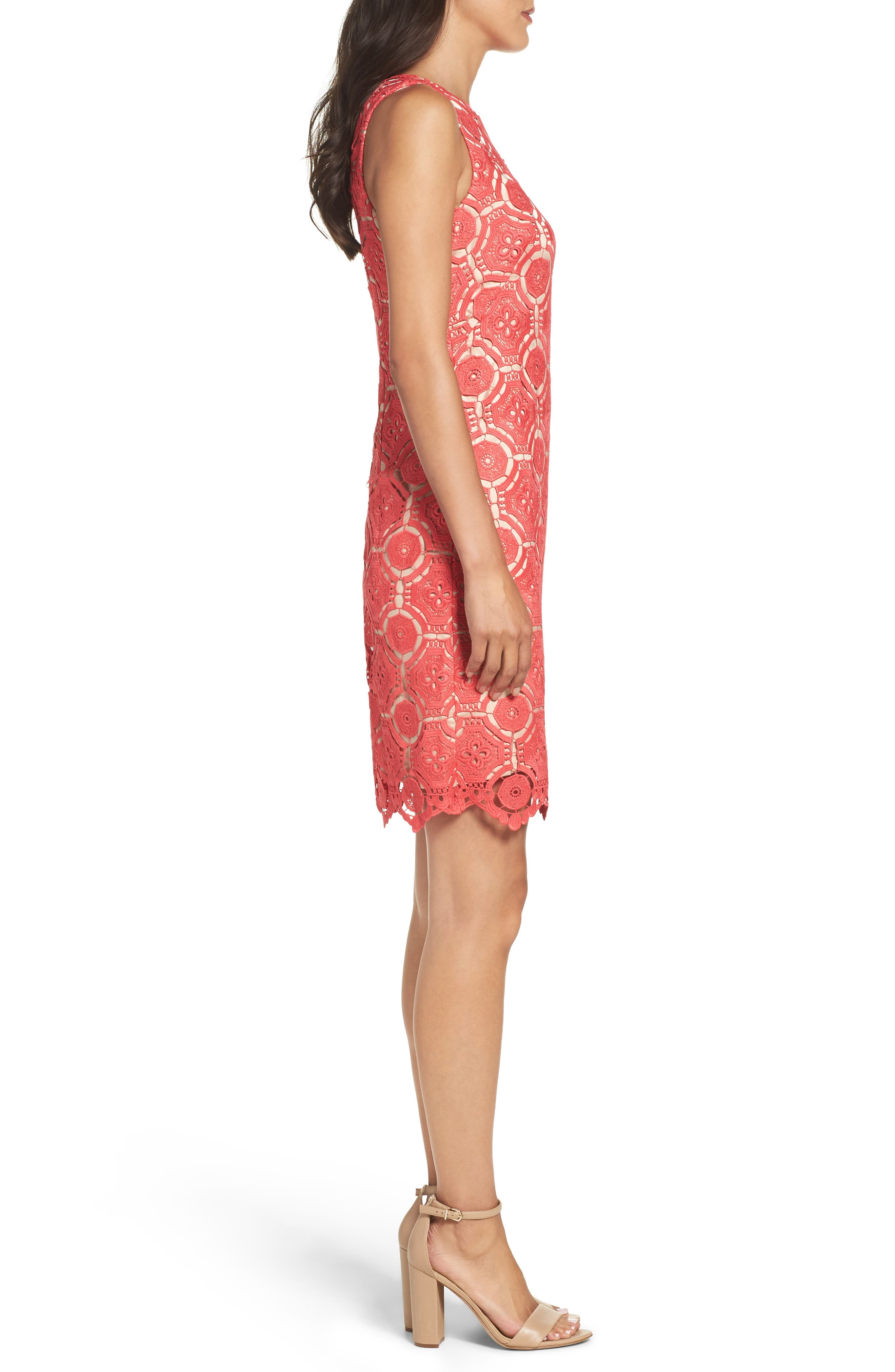 Lace Shift Dress,                             Alternate thumbnail 3, color,                             Poppy