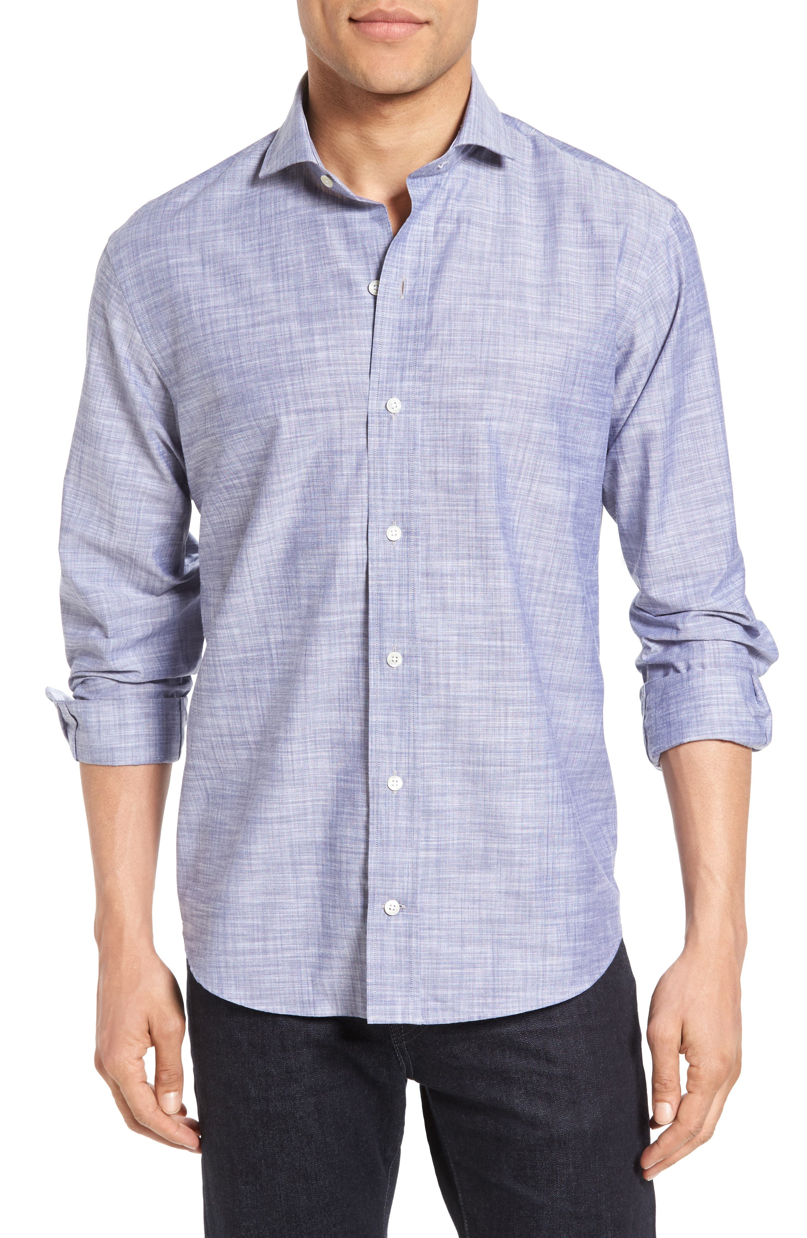 The McDaniel Classic Fit Chambray Sport Shirt,                         Main,                         color, Grey