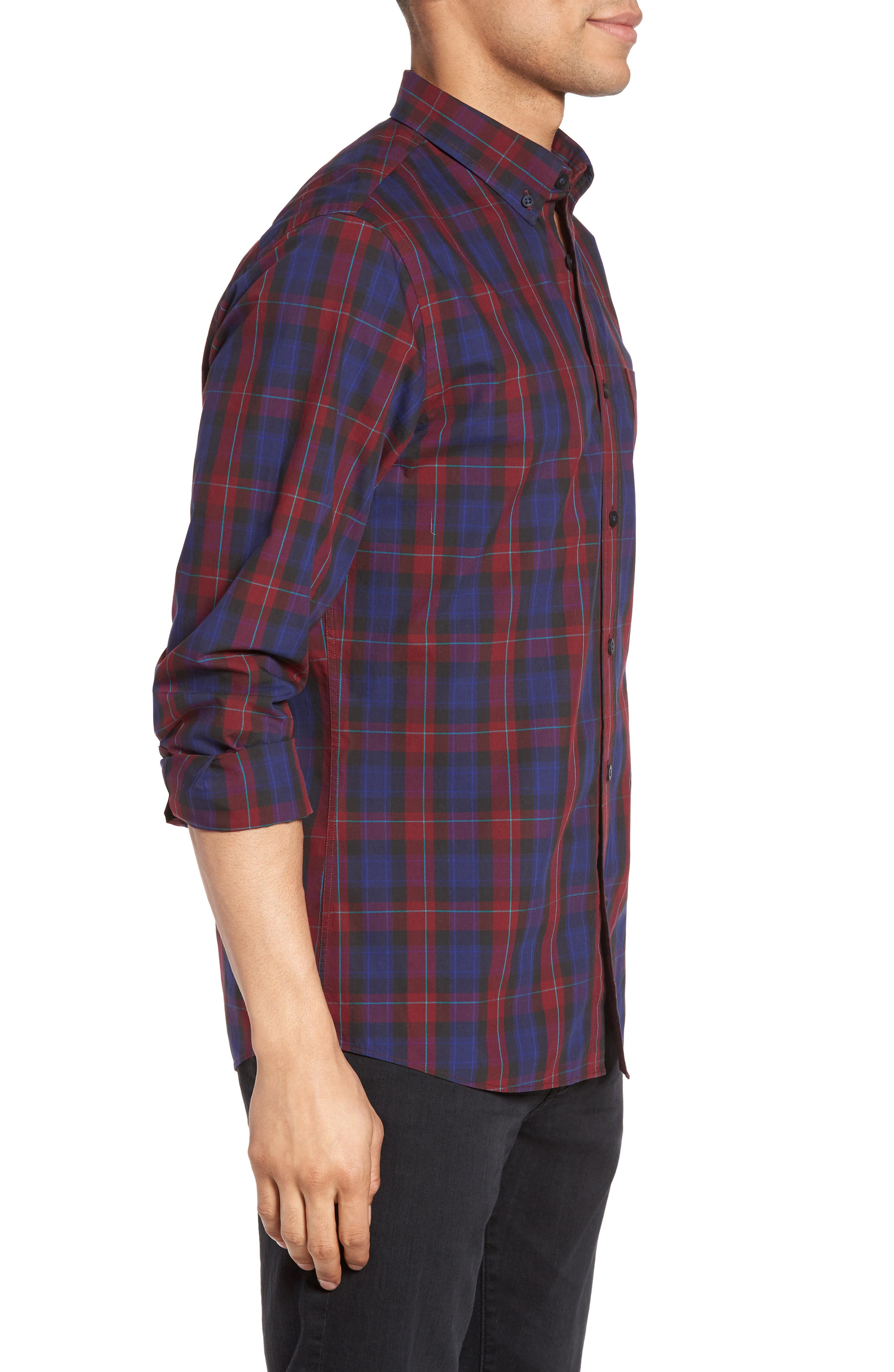Slim Fit Plaid Sport Shirt,                             Alternate thumbnail 3, color,                             Red Ruby Large Check