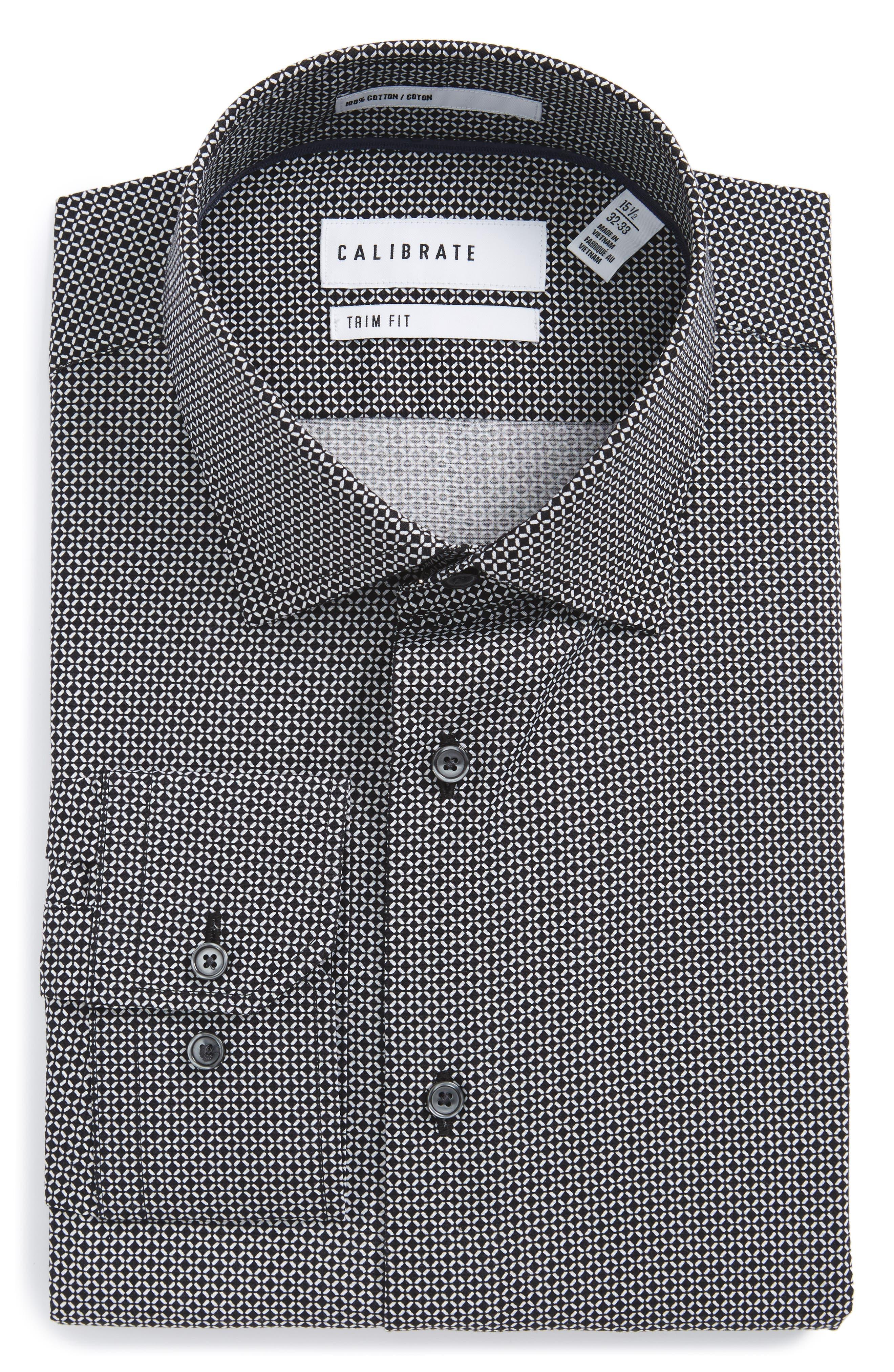 Calibrate Trim Fit Geometric Dress Shirt