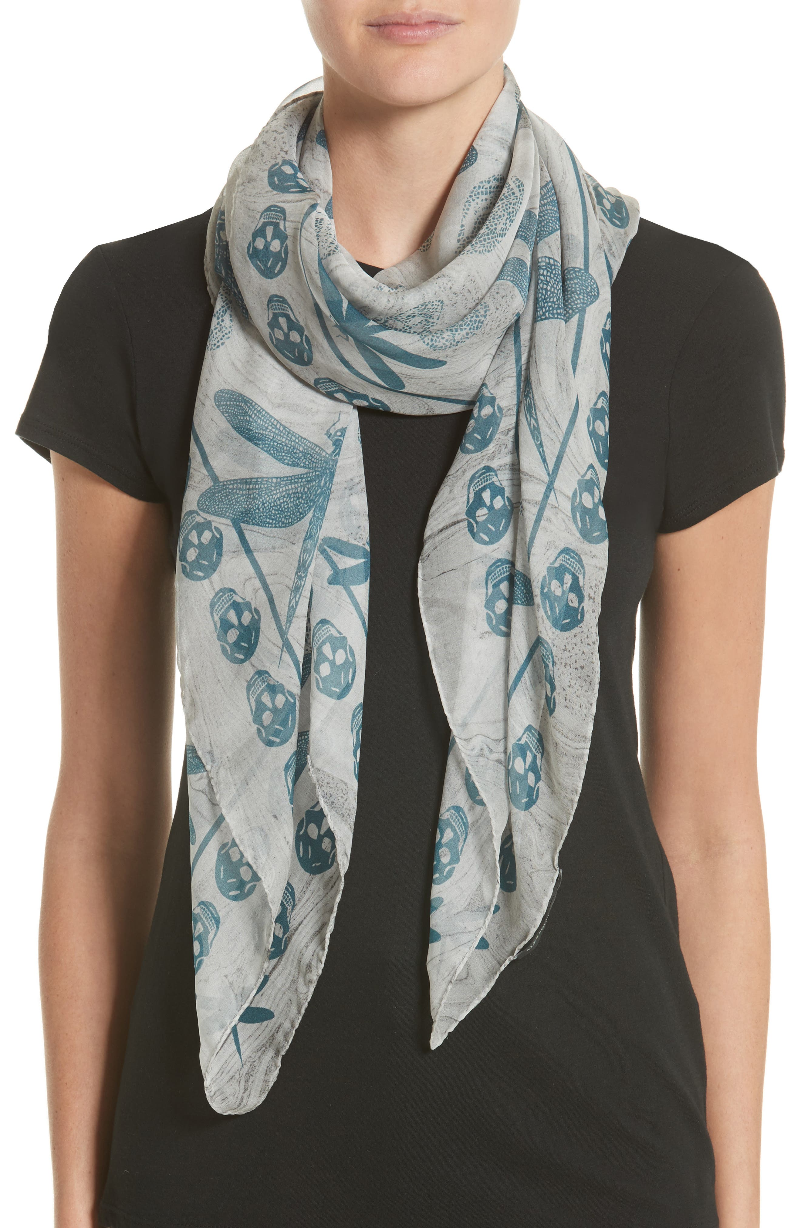 Graphic Dragonfly Silk Scarf,                             Alternate thumbnail 2, color,                             Pearl/ Blue