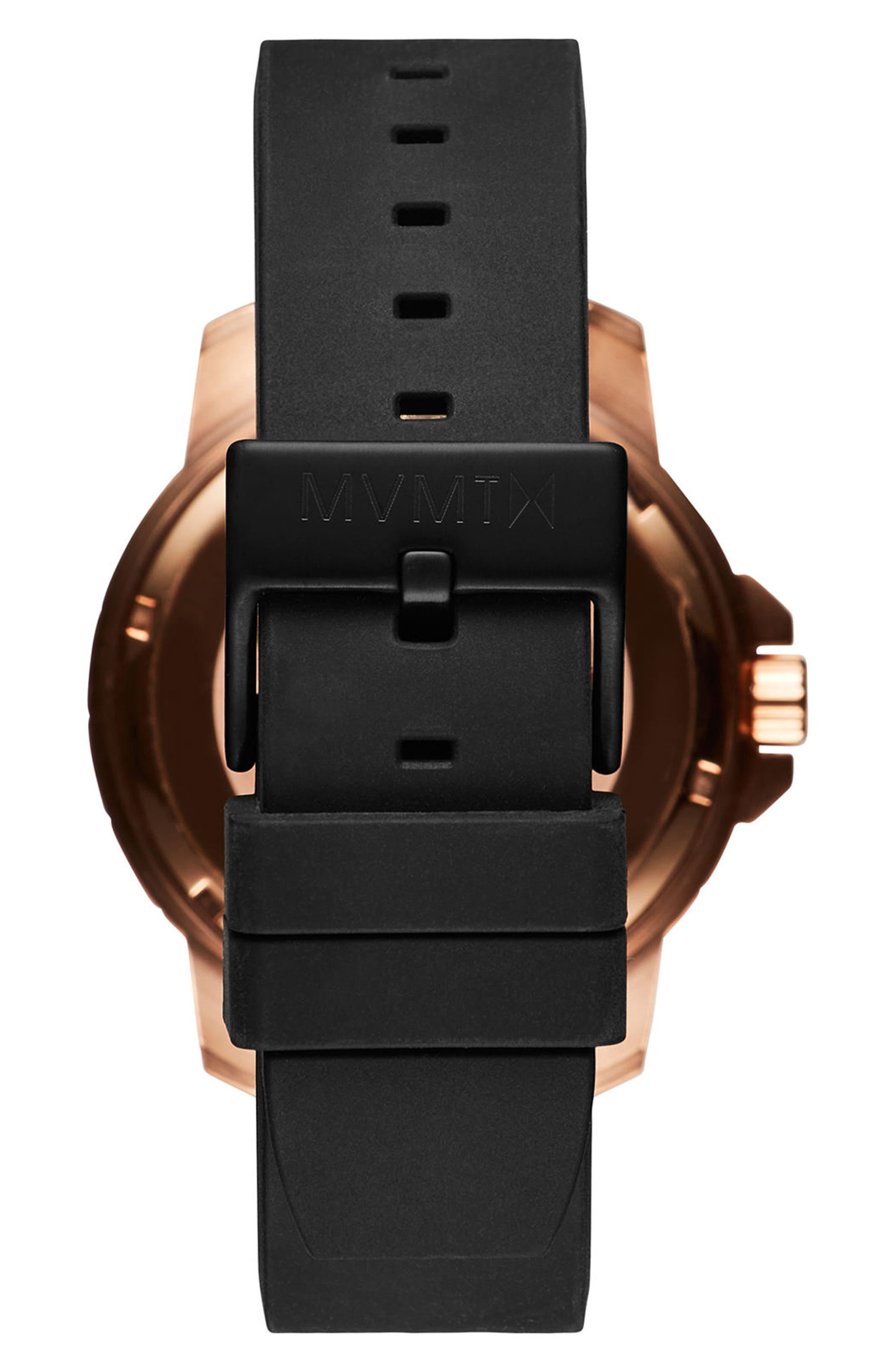 Modern Sport Silicone Strap Watch, 42mm,                             Alternate thumbnail 2, color,                             Black/ Black