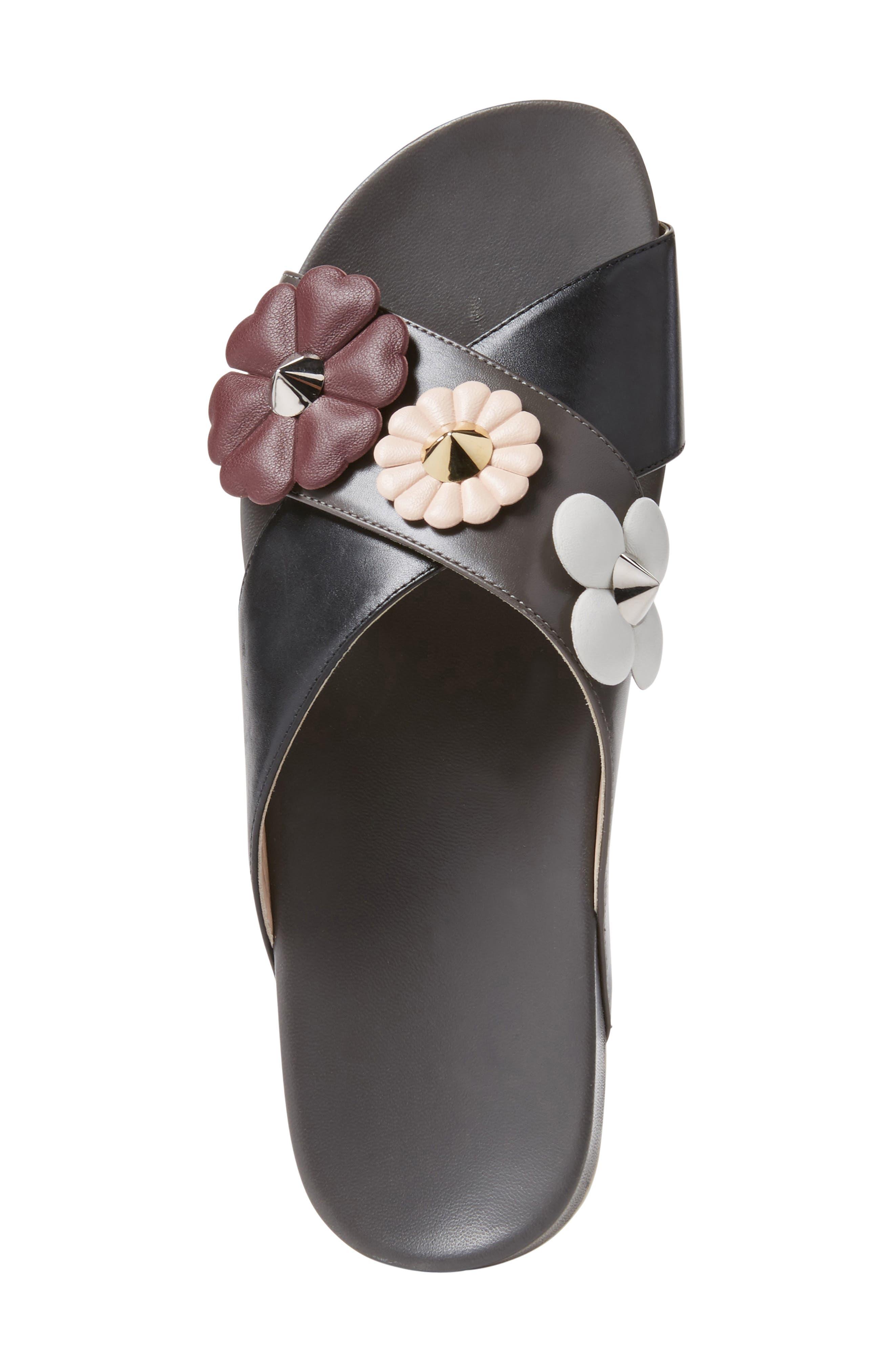 Flowerland Slide Sandal,                             Alternate thumbnail 4, color,                             Black/ Purple