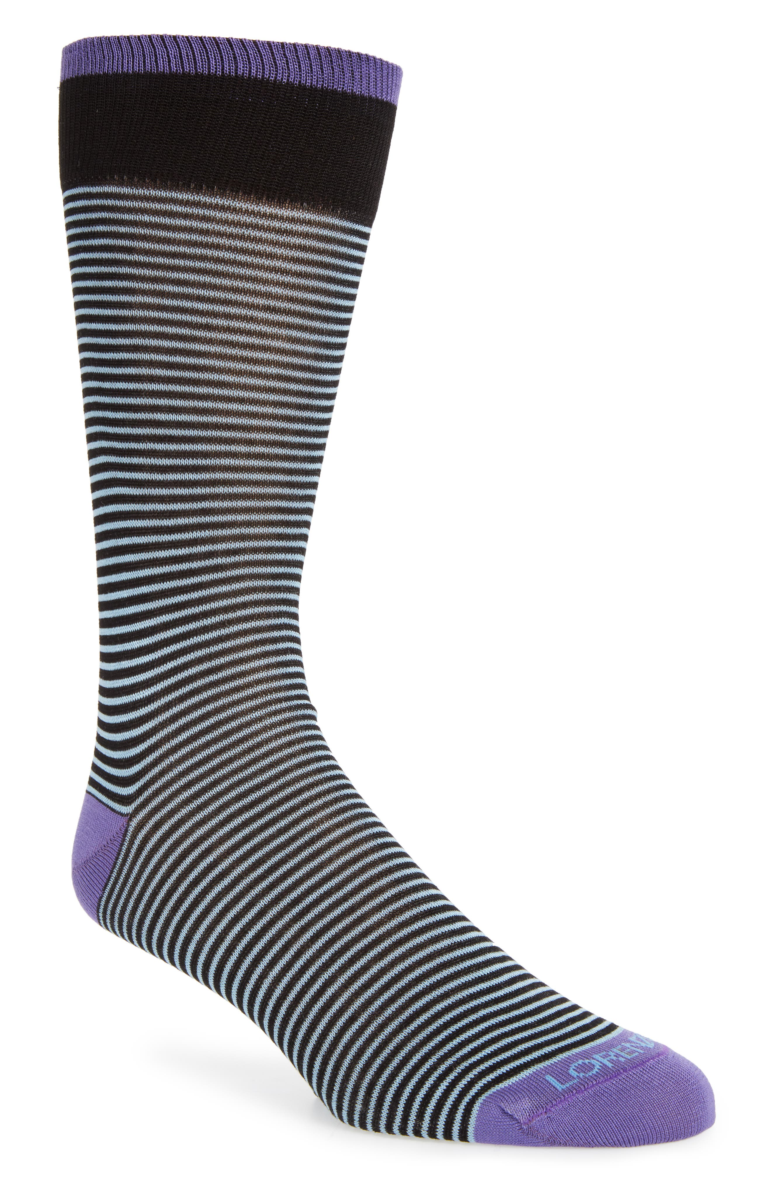 Lorenzo Uomo Feed Stripe Crew Socks (3 for $30)