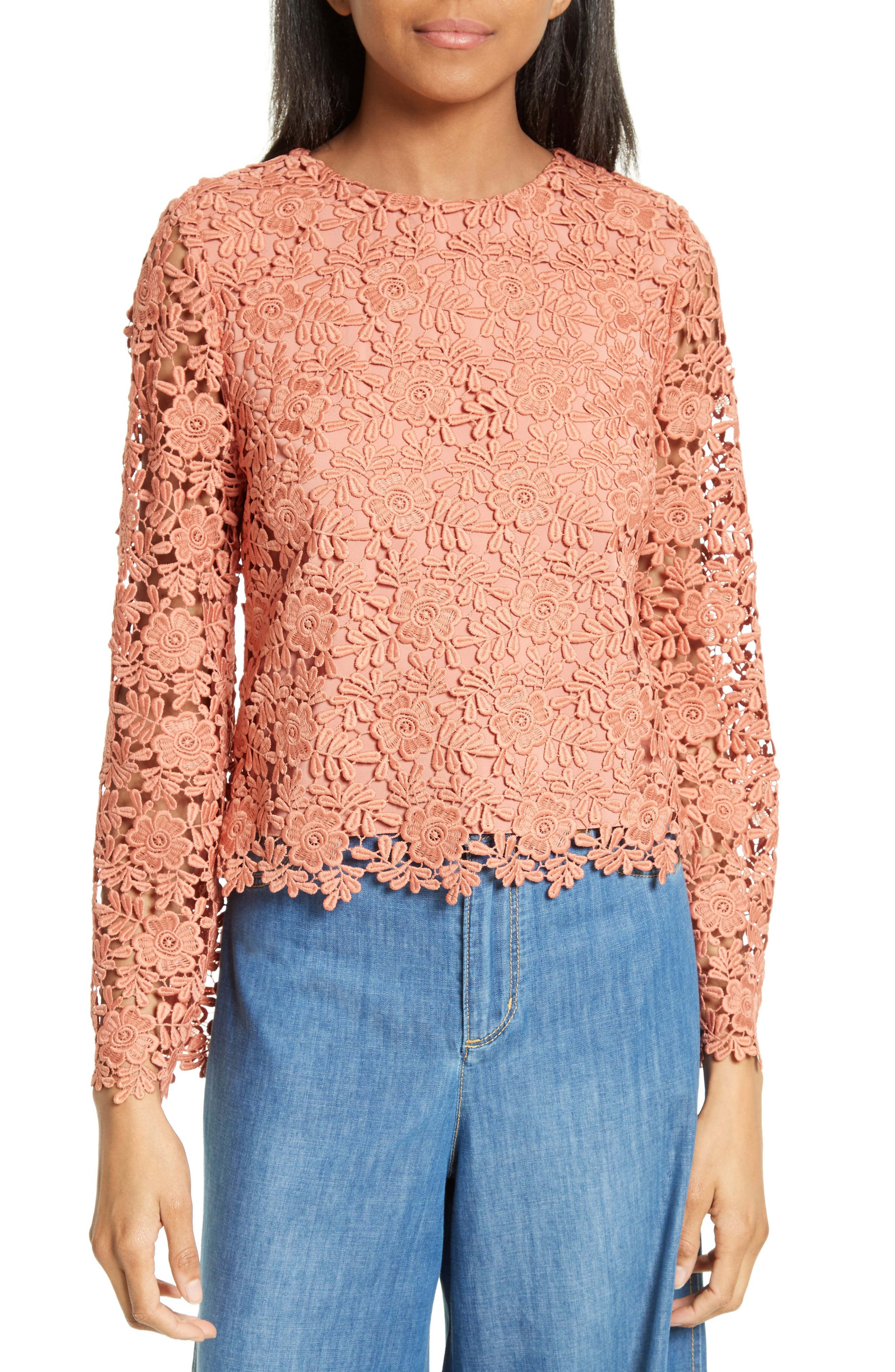 Main Image - Alice + Olivia Pasha Bell Sleeve Lace Top