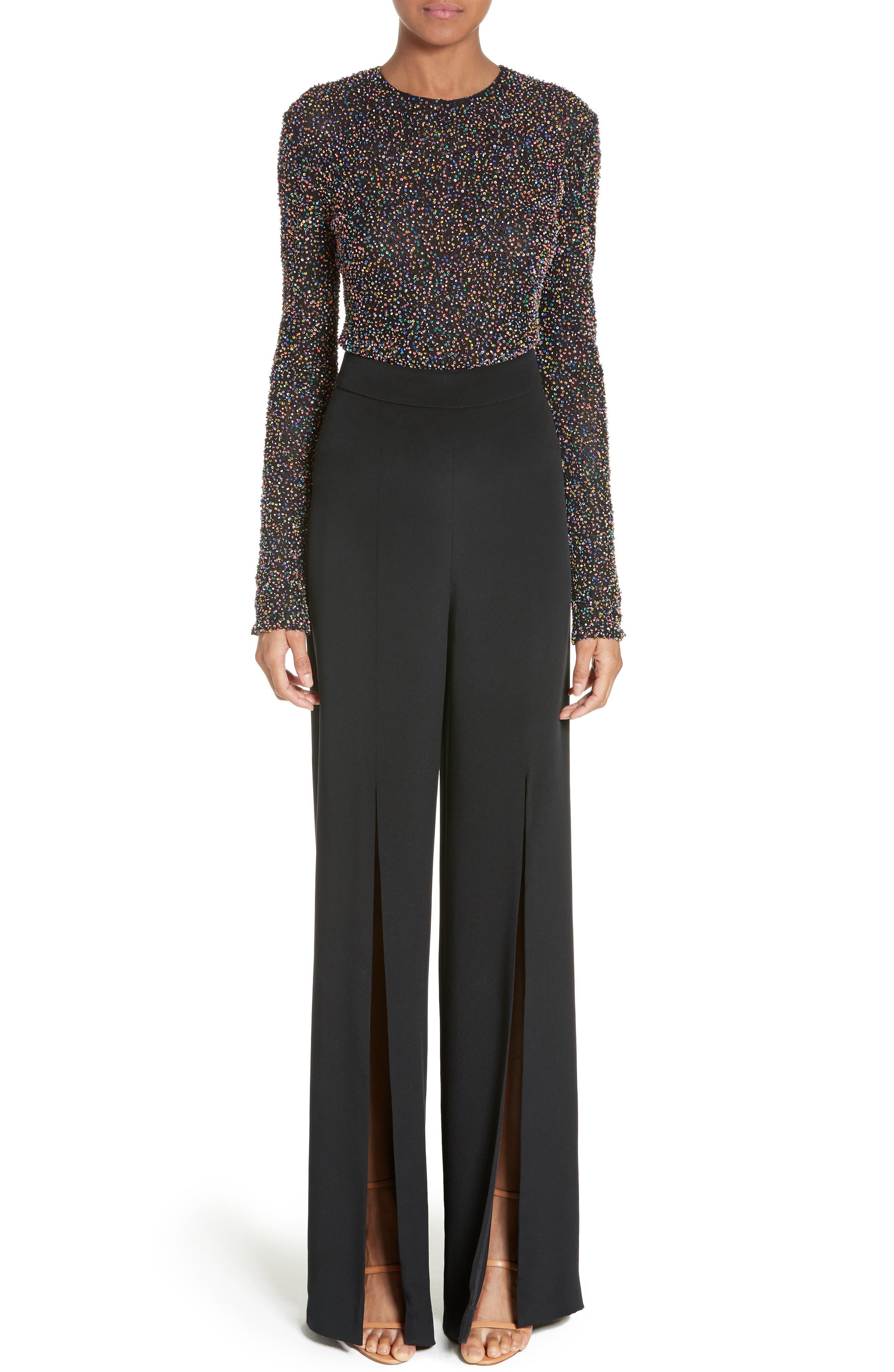 Zoe Beaded Mesh Bodysuit,                         Main,                         color, Black/ Multi