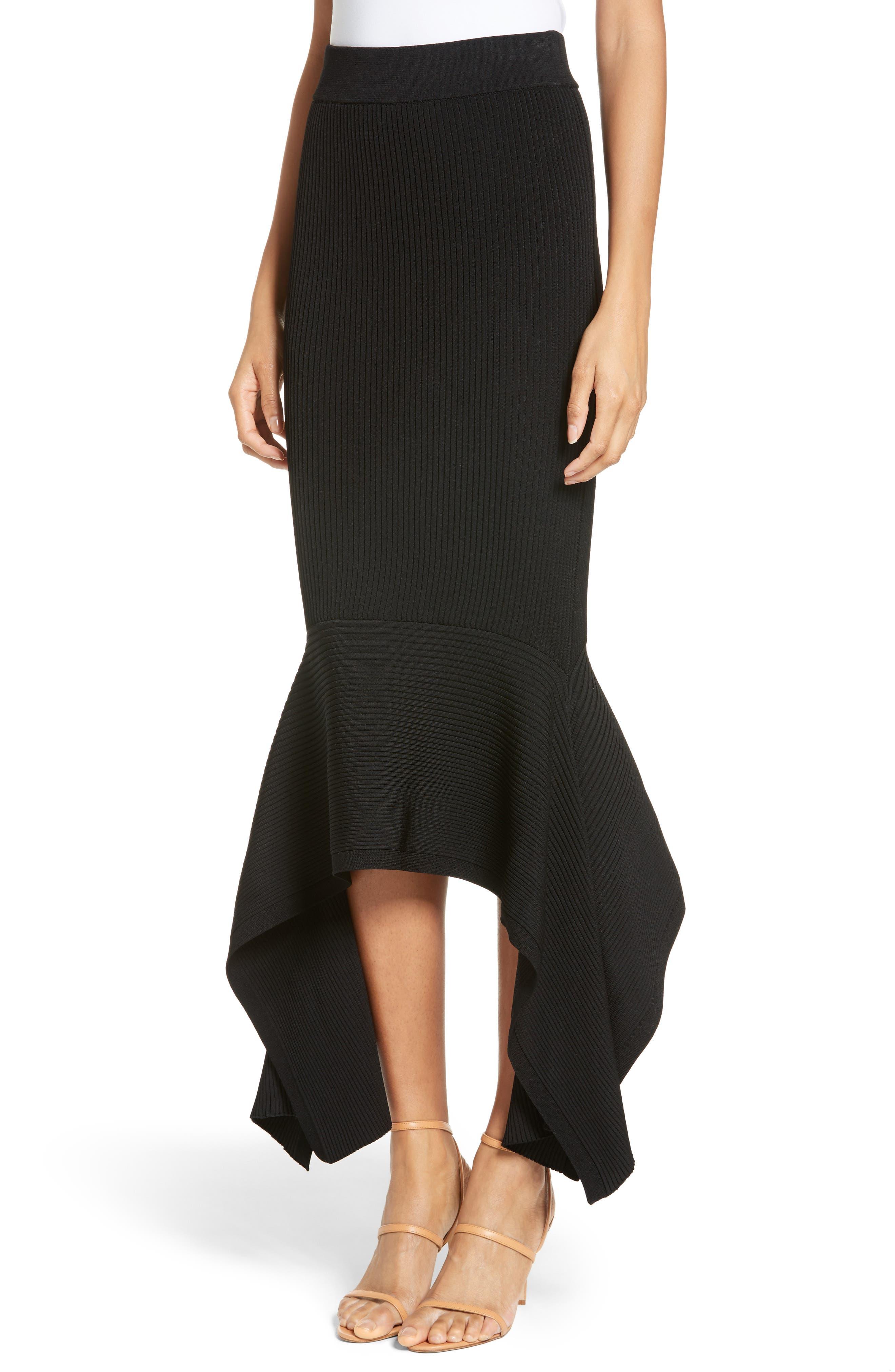 Rib Knit Ruffle Hem Midi Skirt,                             Alternate thumbnail 5, color,                             Black