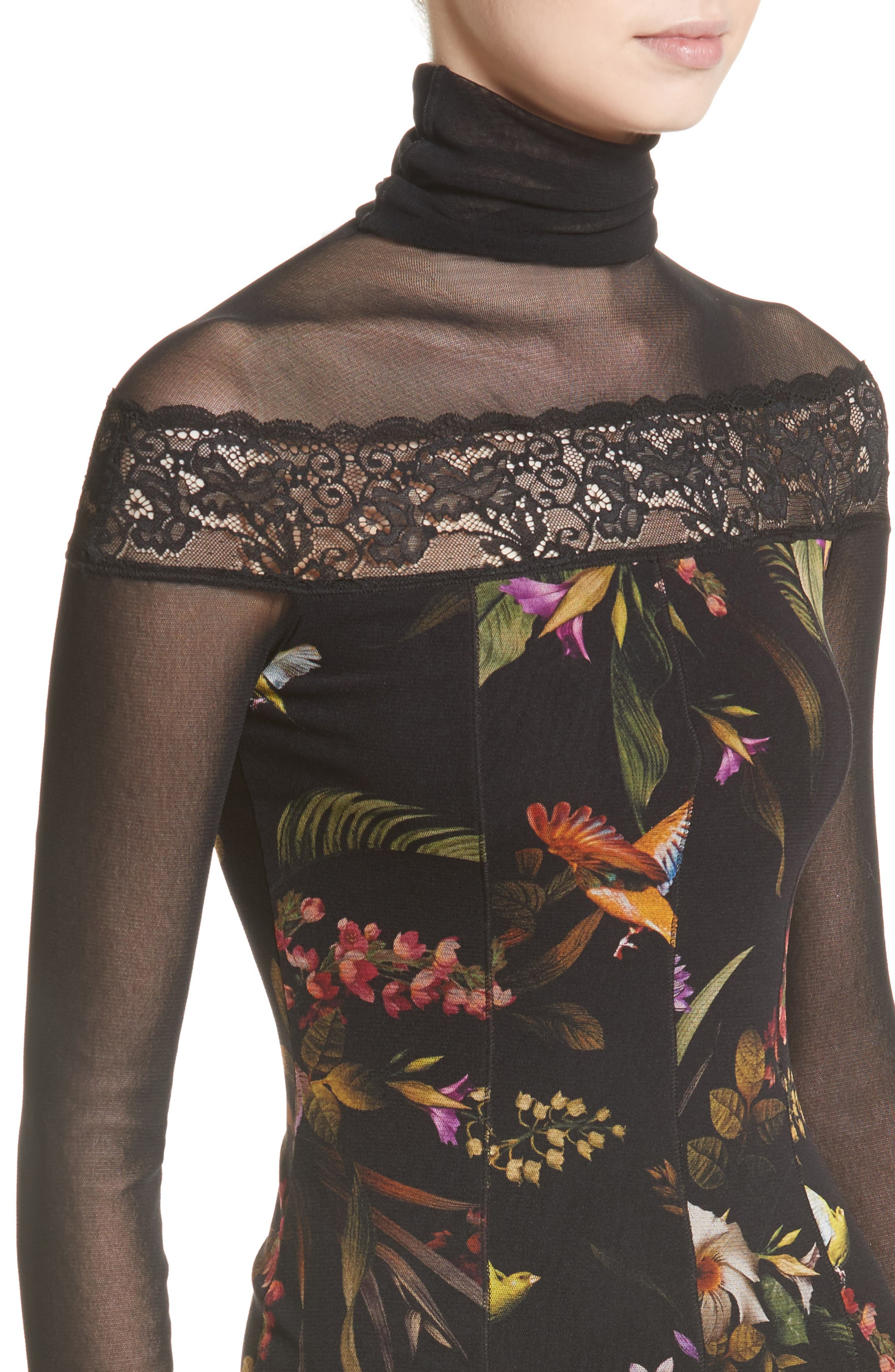 Tulle Turtleneck Sheath Dress,                             Alternate thumbnail 6, color,                             Nero