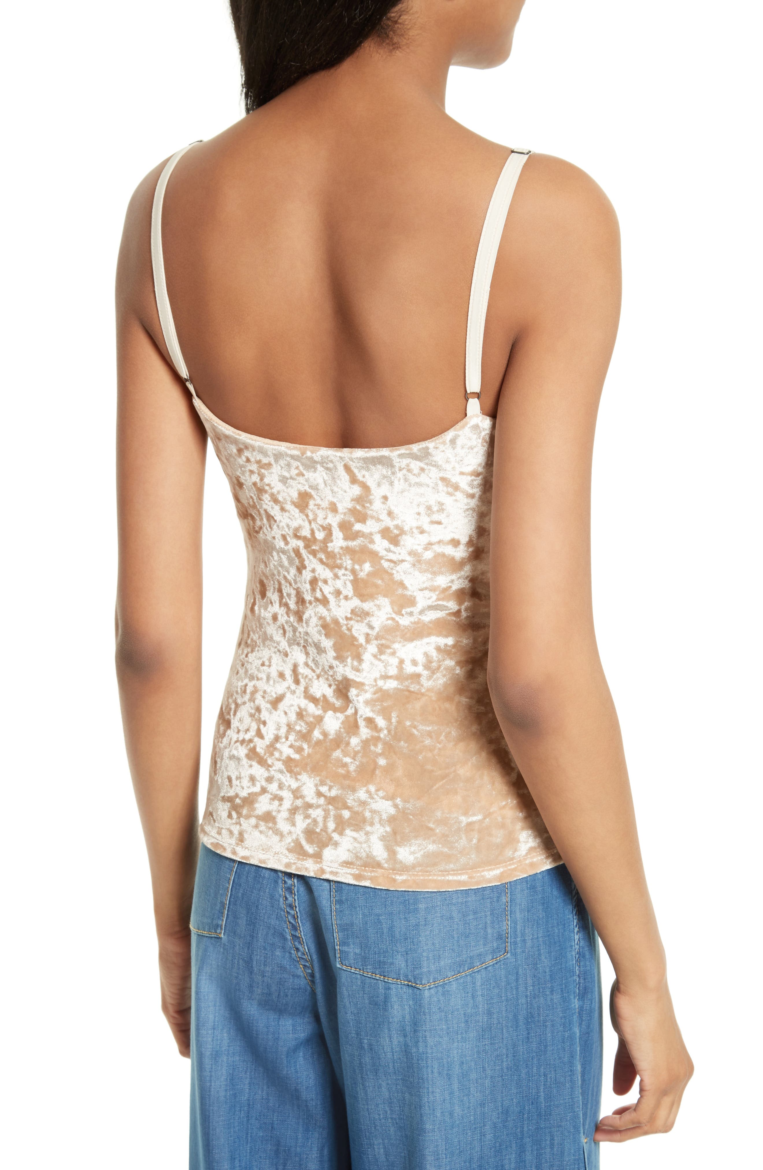 Delray Crushed Velvet Camisole,                             Alternate thumbnail 2, color,                             Natural