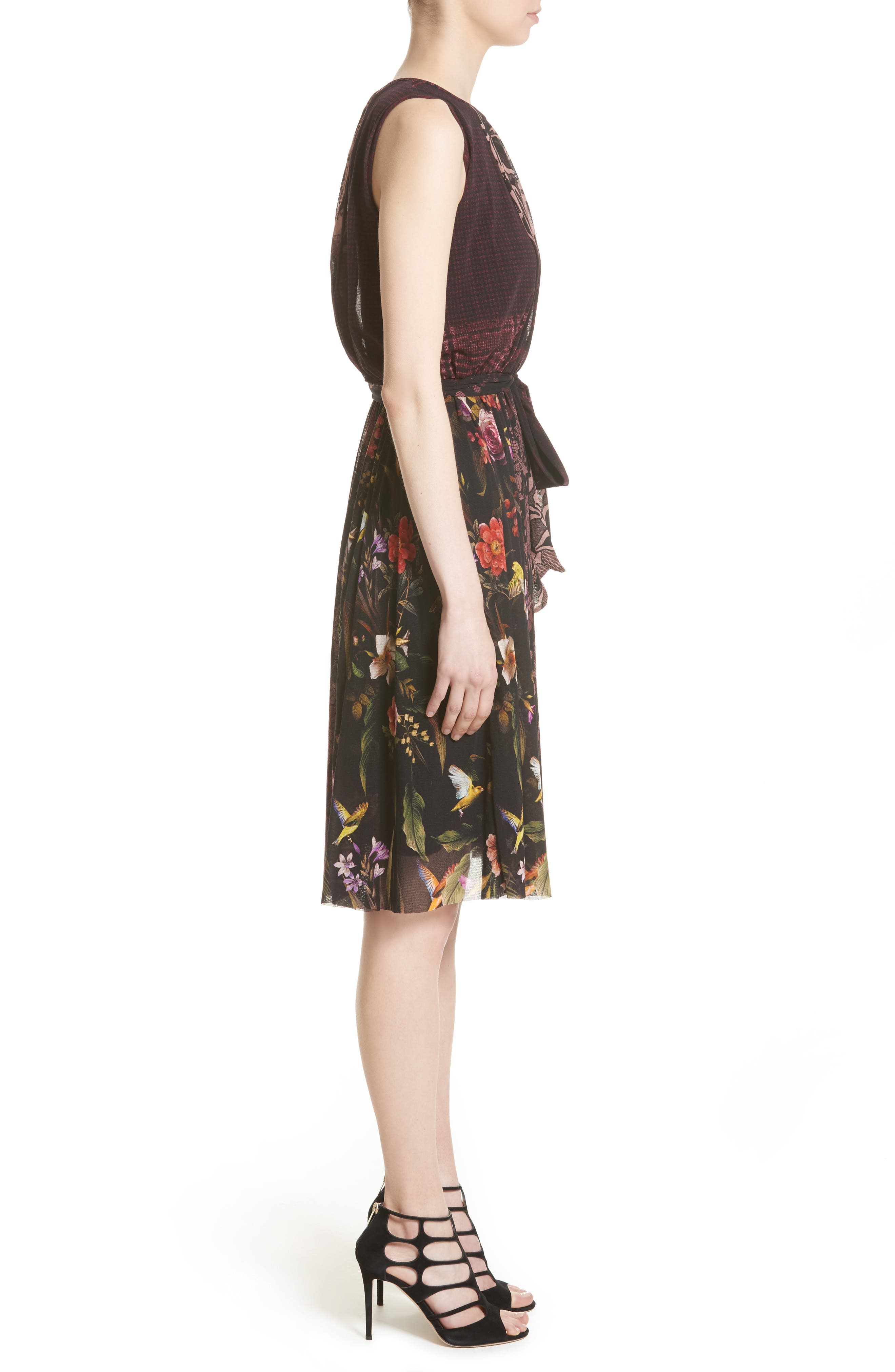 Belted Tulle Dress,                             Alternate thumbnail 6, color,                             Plum