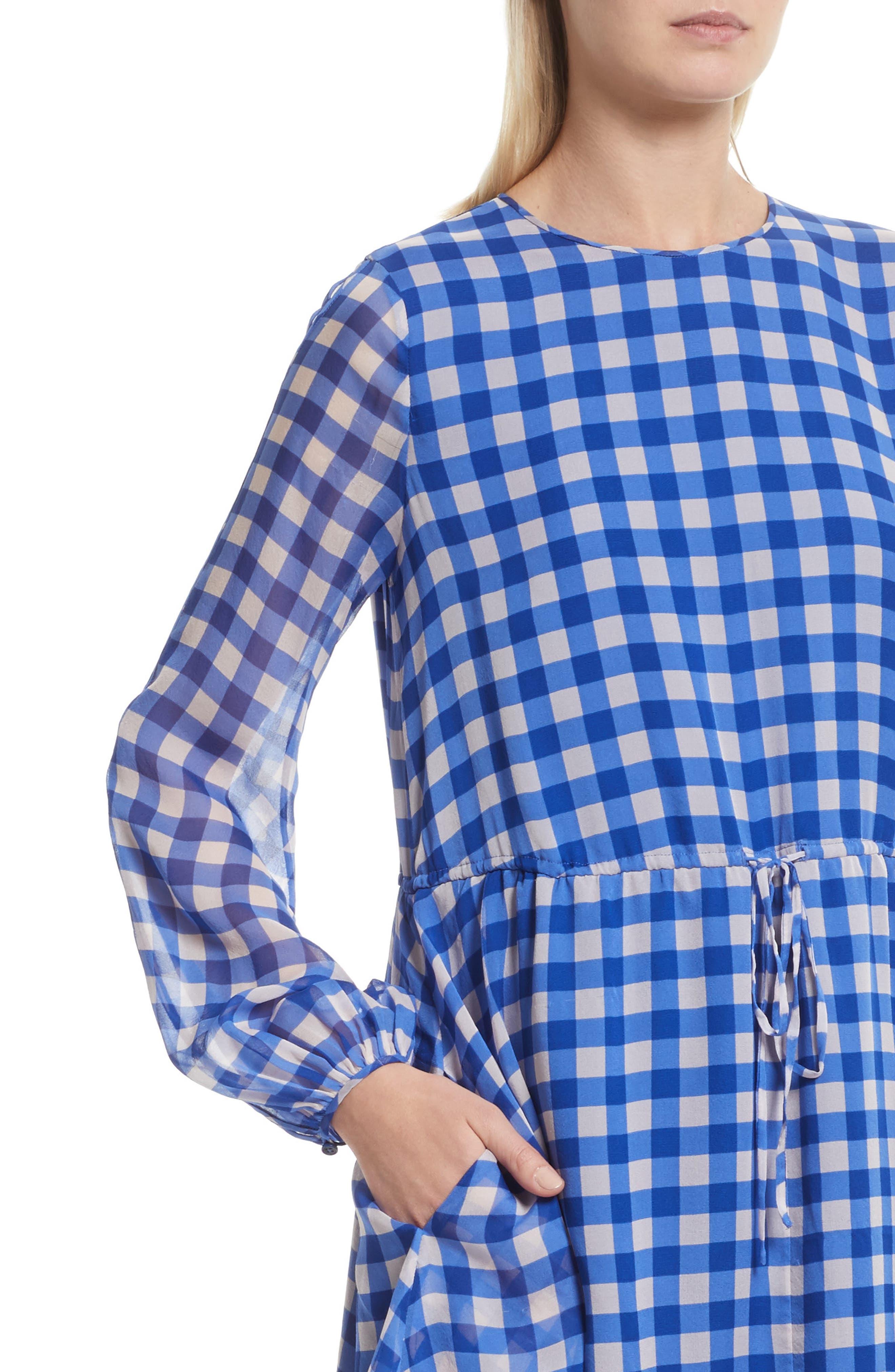 Check Silk Tie Waist Minidress,                             Alternate thumbnail 4, color,                             Klein Blue