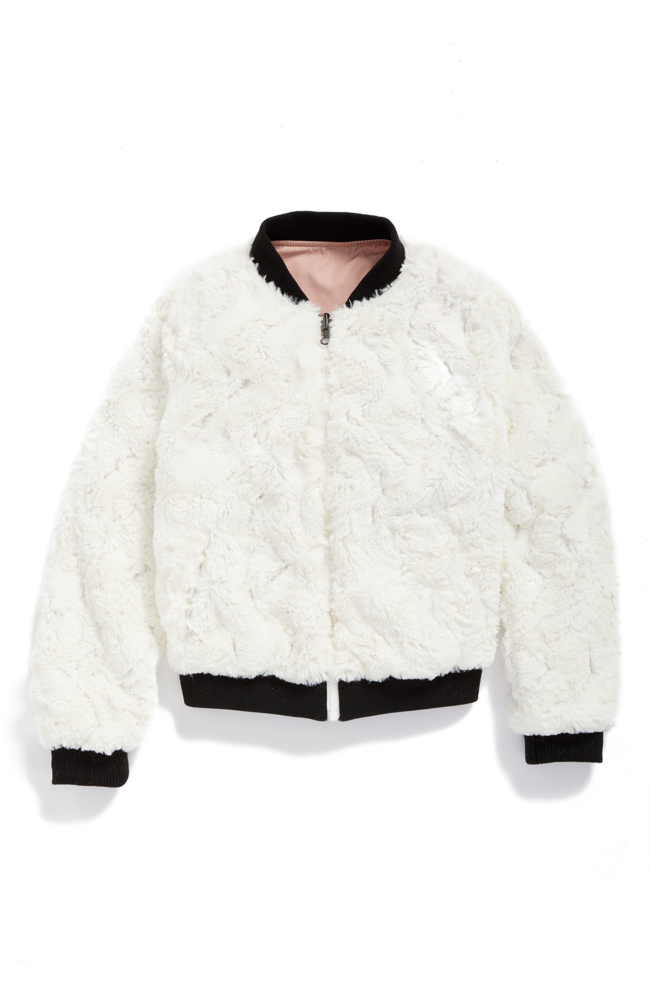 Alternate Image 2  - Tucker + Tate Reversible Faux Fur Bomber Jacket (Big Girls)
