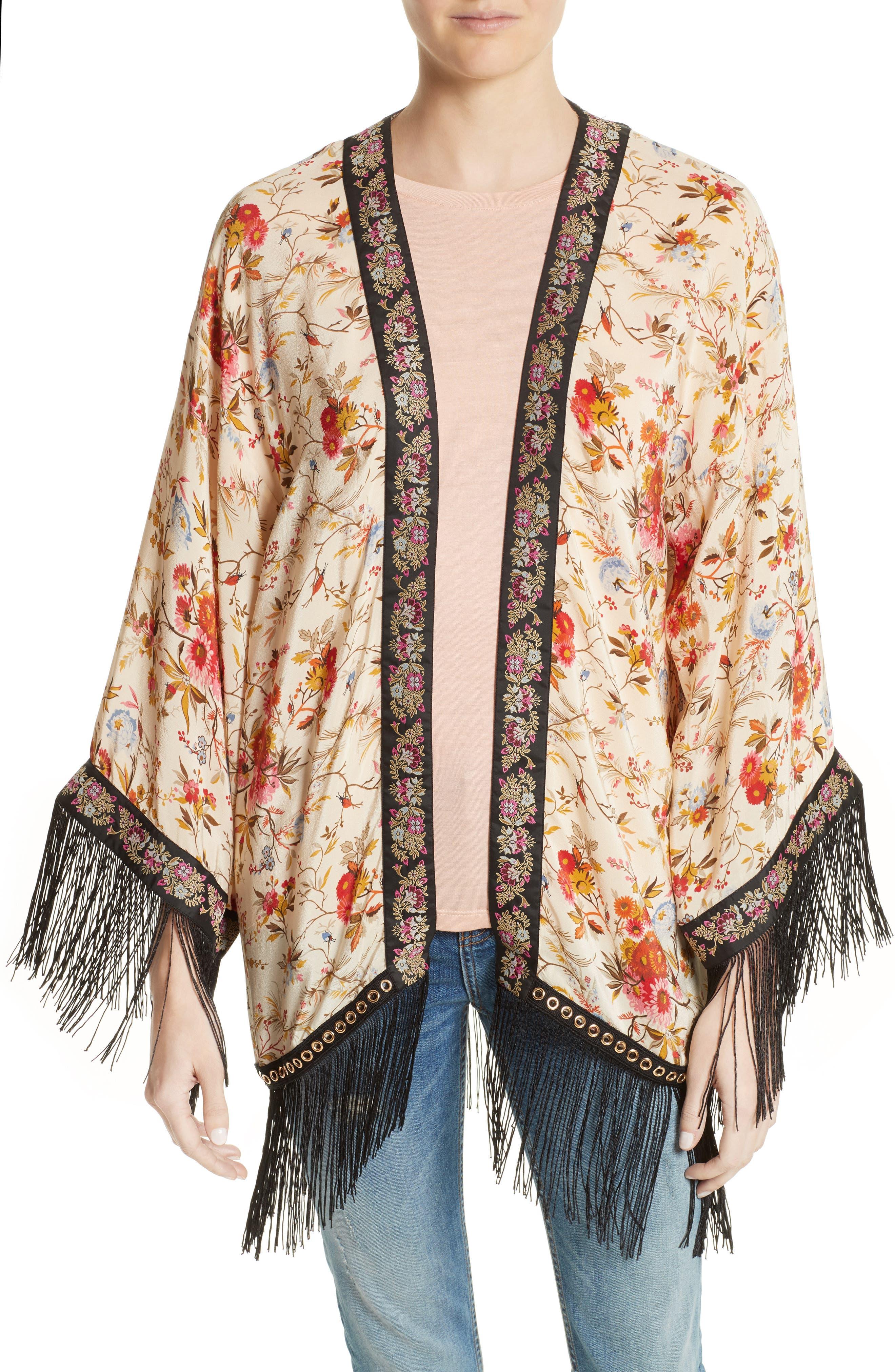 The Kooples Fleurs D'Artifice Floral Print Fringe Kimono
