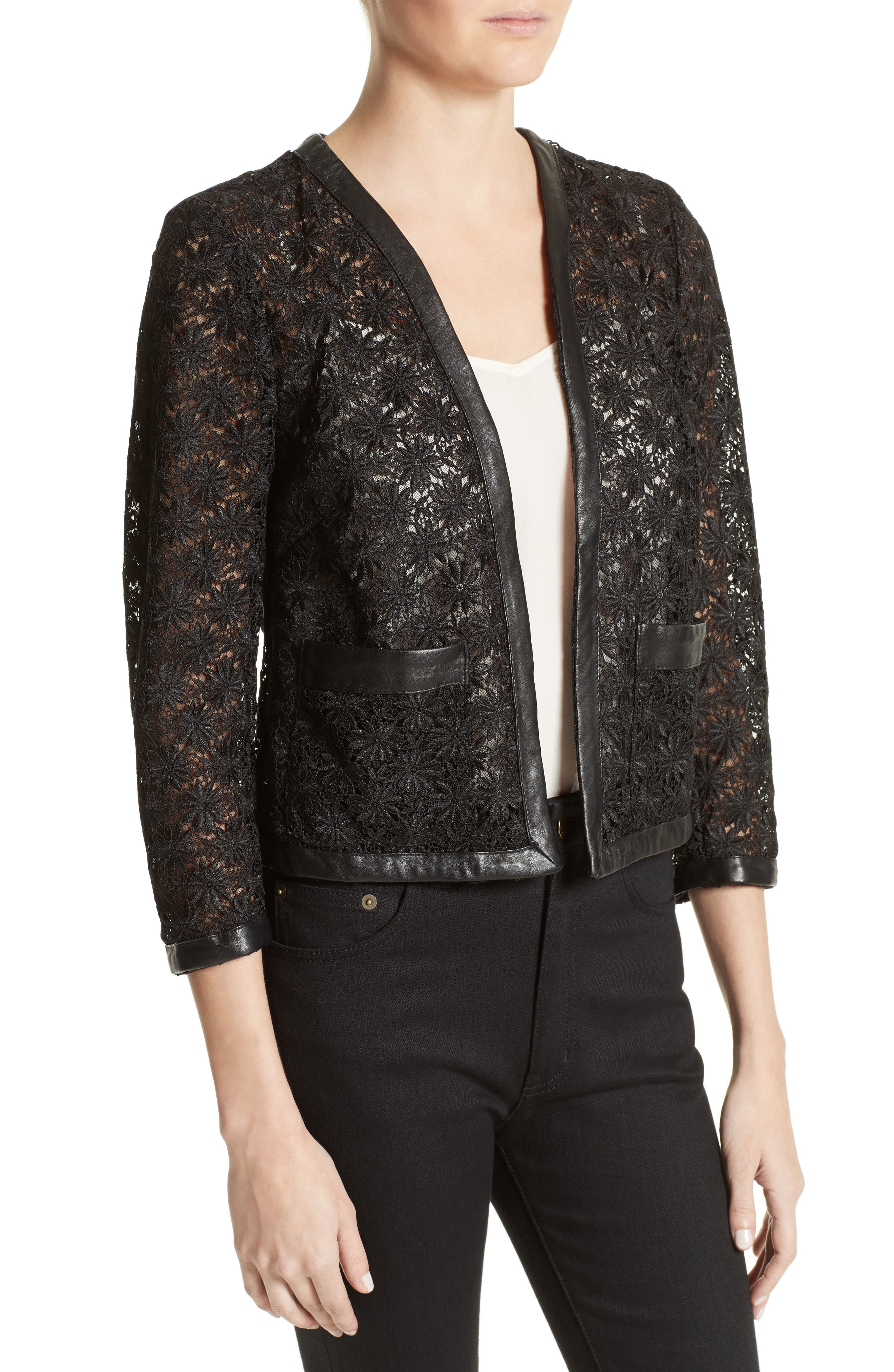 Alternate Image 4  - The Kooples Faux Leather Trim Lace Jacket