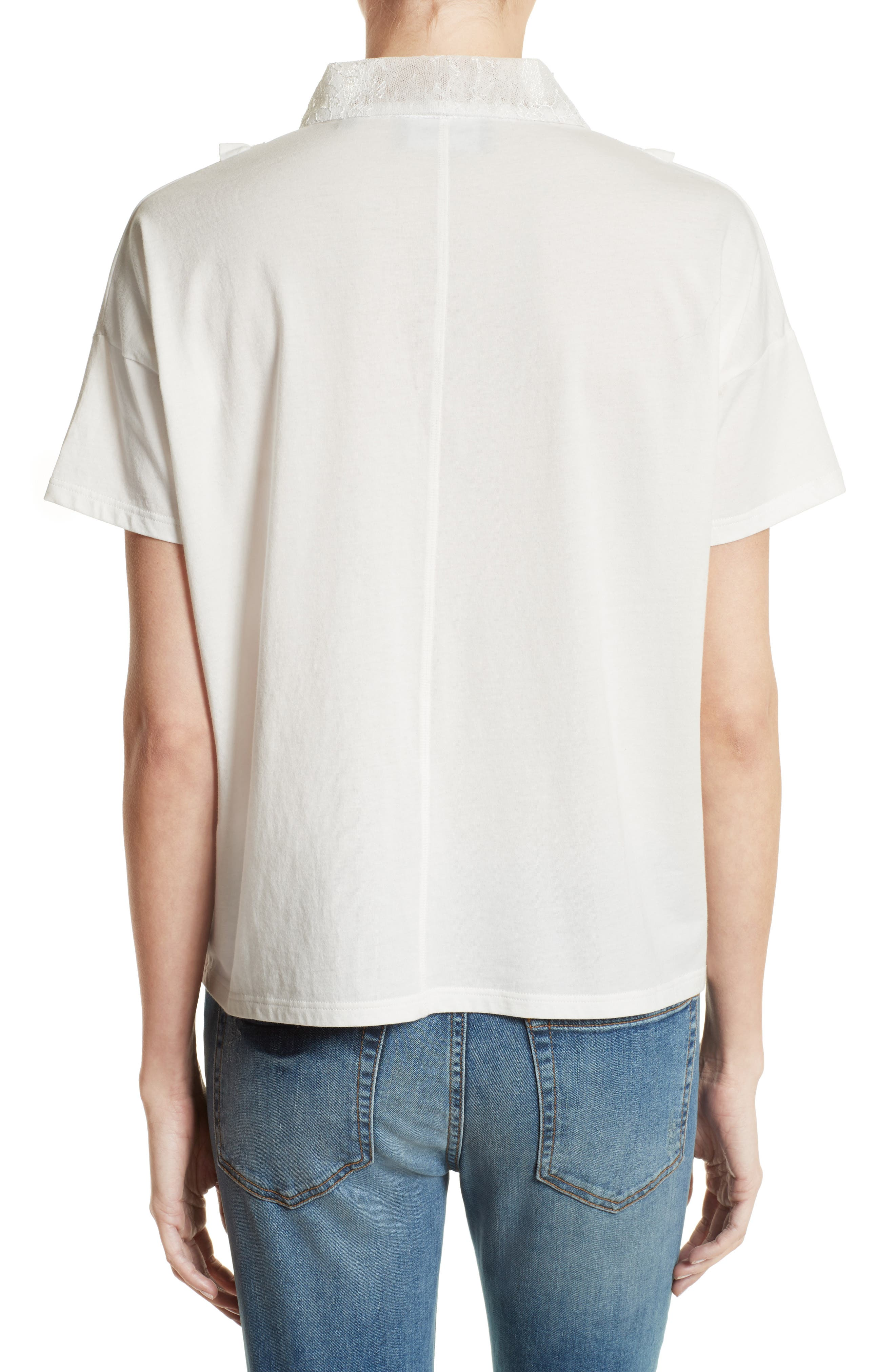 Alternate Image 2  - The Kooples Lace & Ruffle Cotton Top