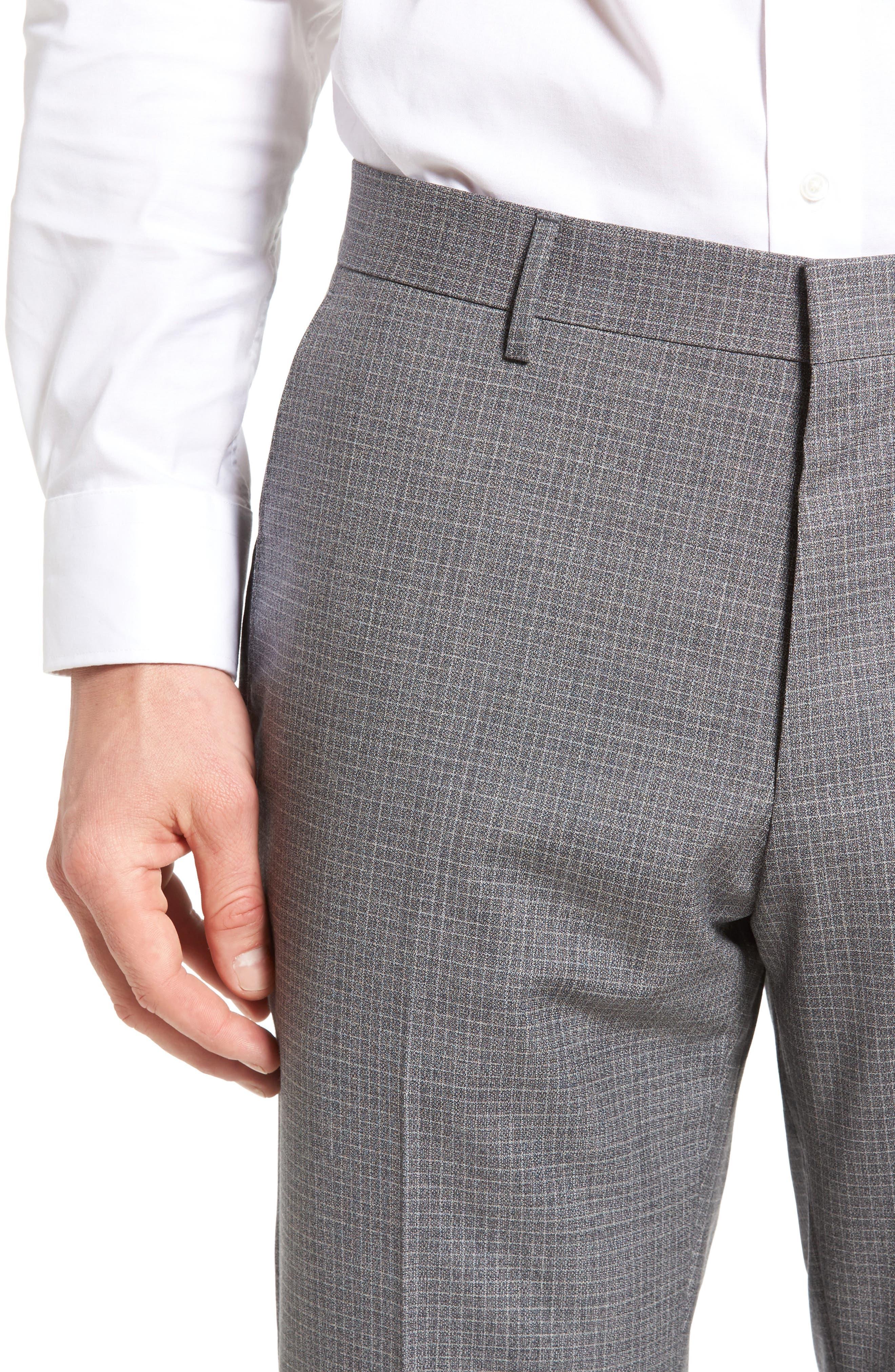 Alternate Image 4  - BOSS Genesis Flat Front Check Wool Trousers