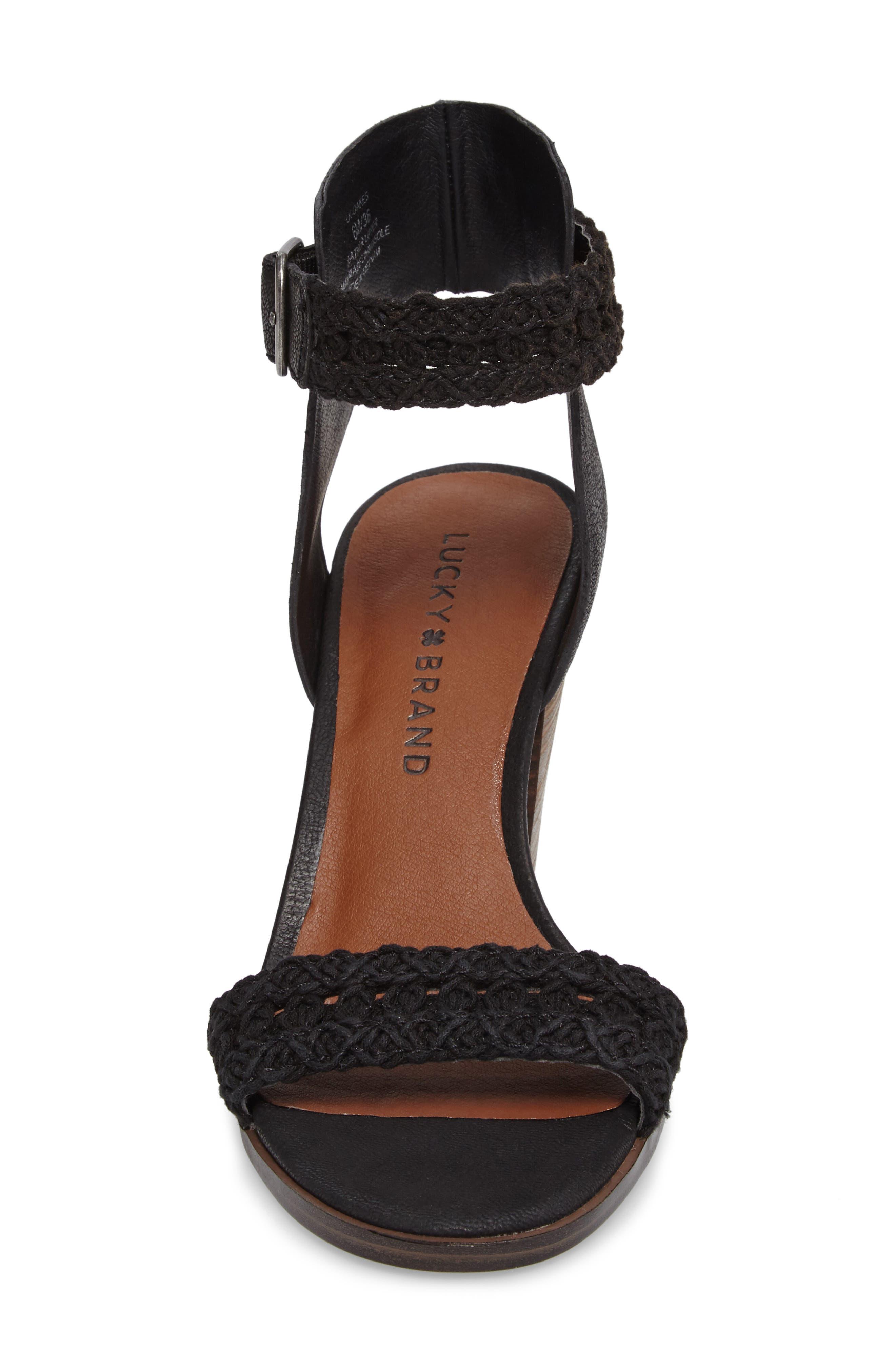 Oakes Ankle Strap Sandal,                             Alternate thumbnail 4, color,                             Black Leather