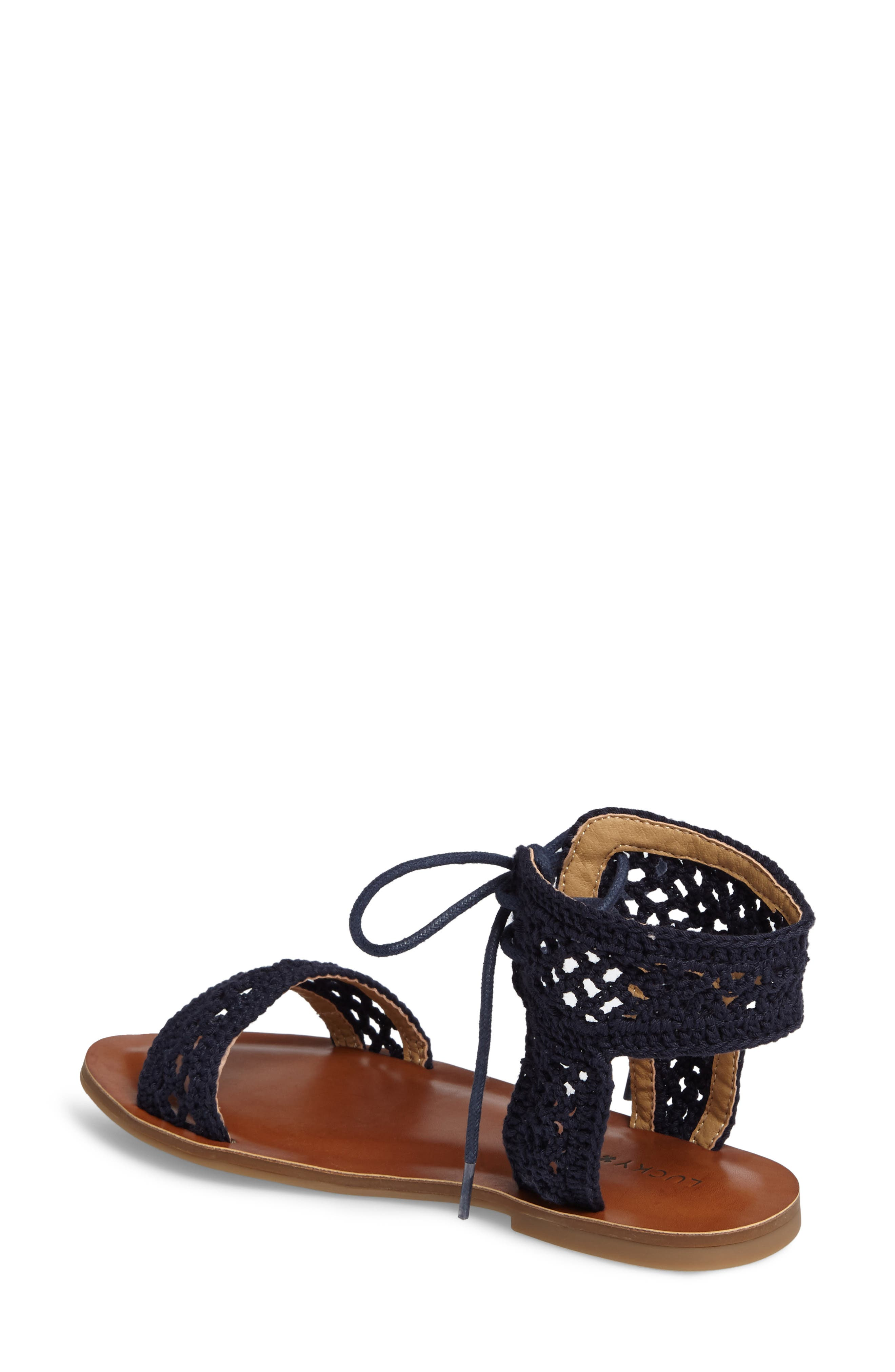 Ariah Ankle Tie Sandal,                             Alternate thumbnail 2, color,                             Moroccan Blue Fabric