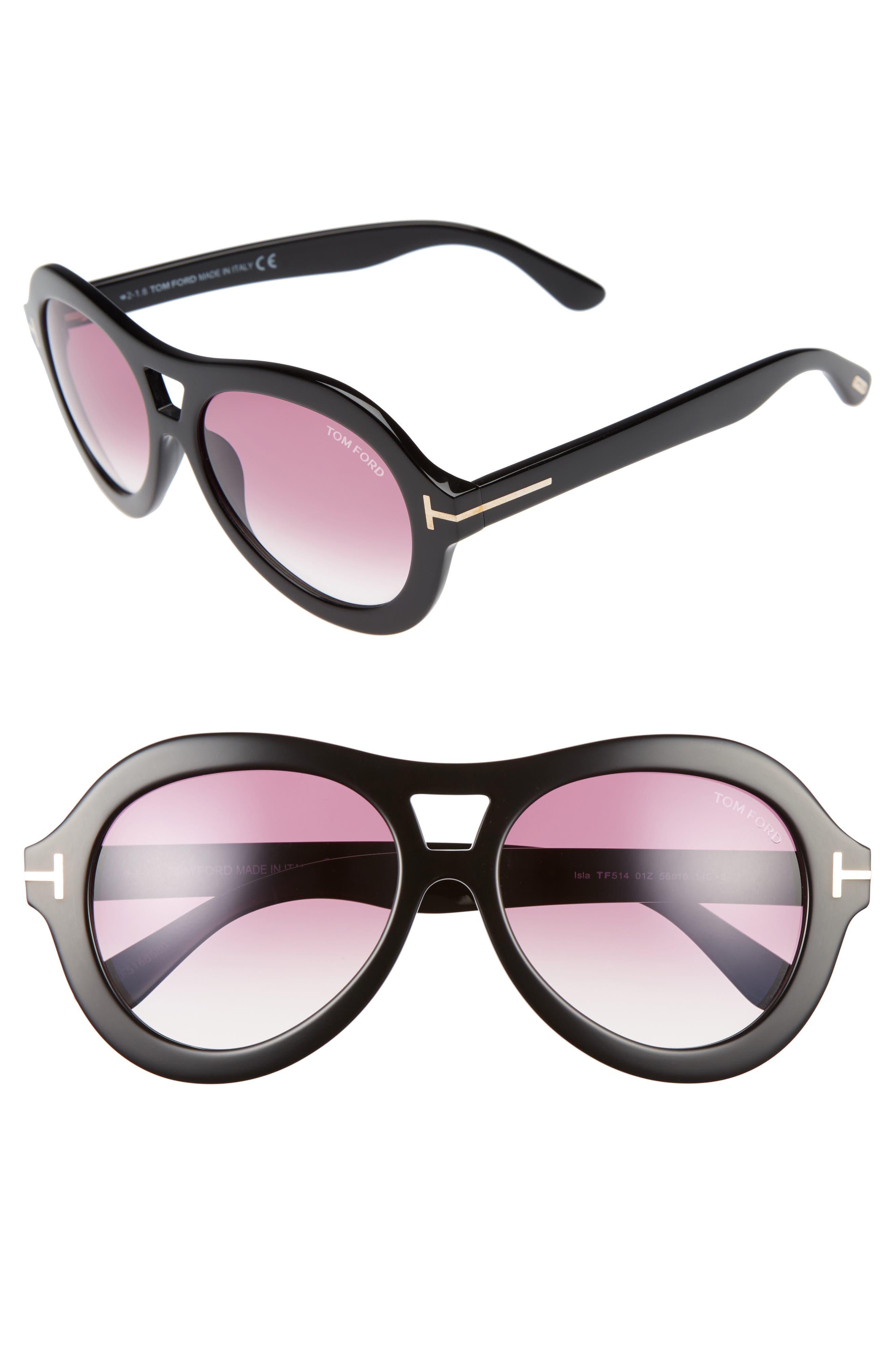 Main Image - Tom Ford Isla 56mm Round Aviator Sunglasses