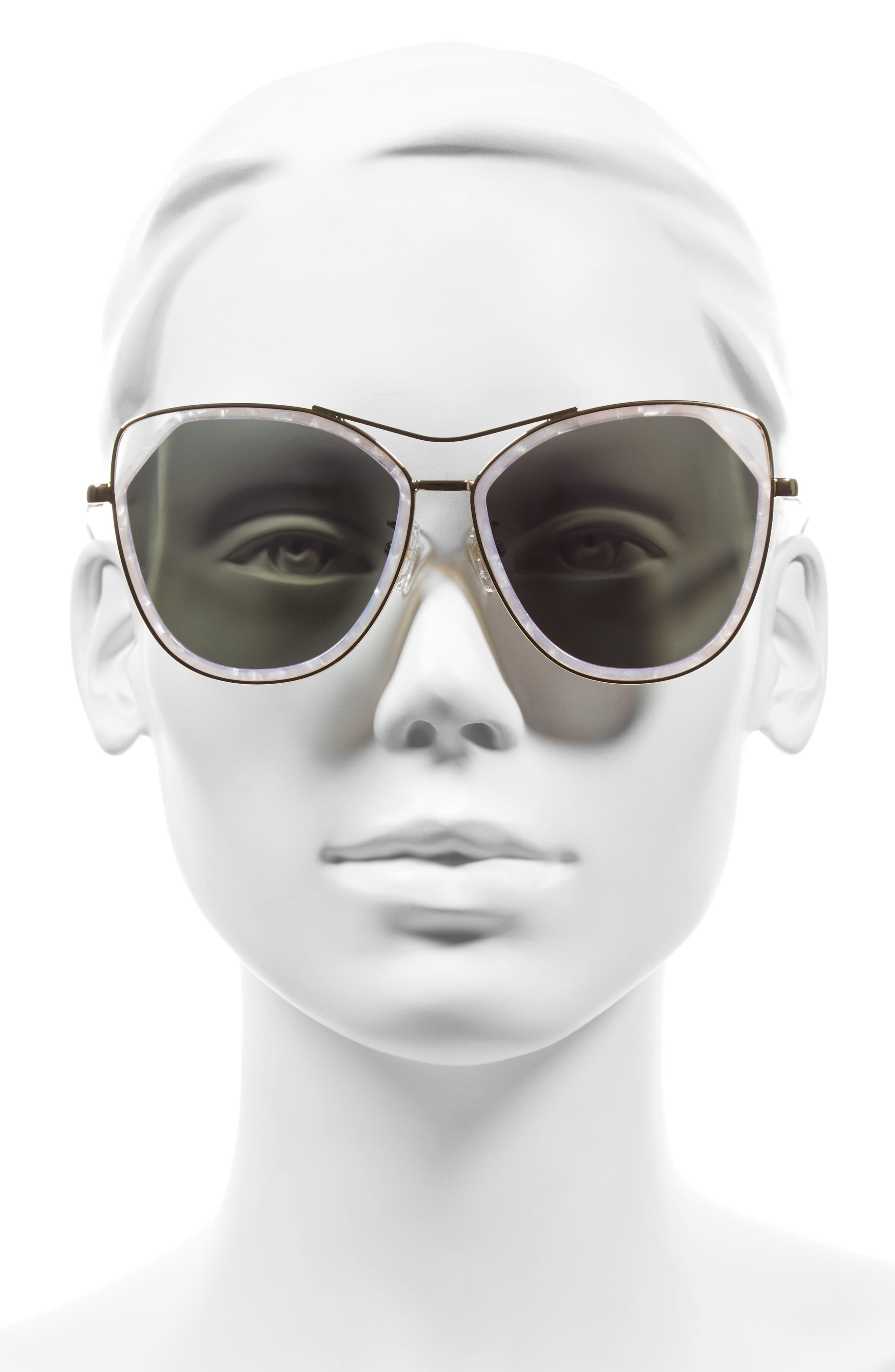 Grand 56mm Polarized Cat Eye Sunglasses,                             Alternate thumbnail 3, color,                             Lavender