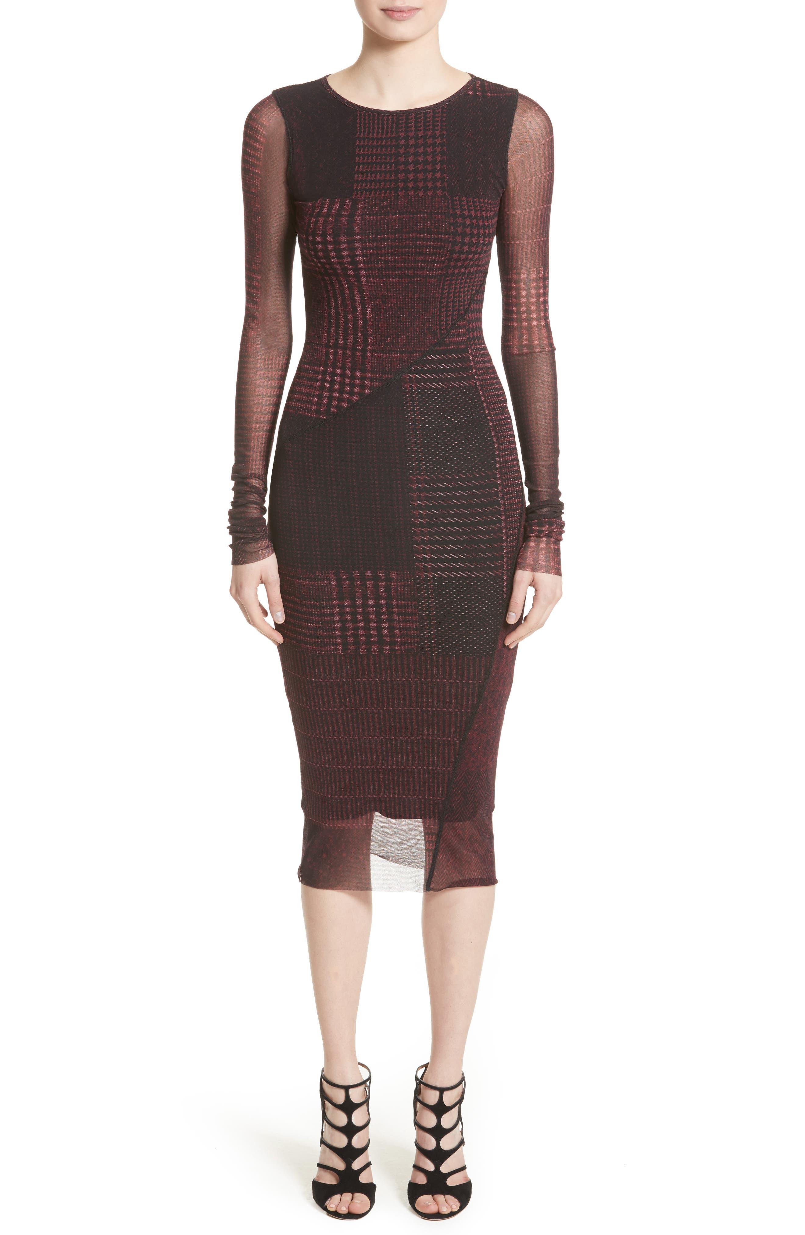 Fuzzi Long Sleeve Tulle Midi Dress