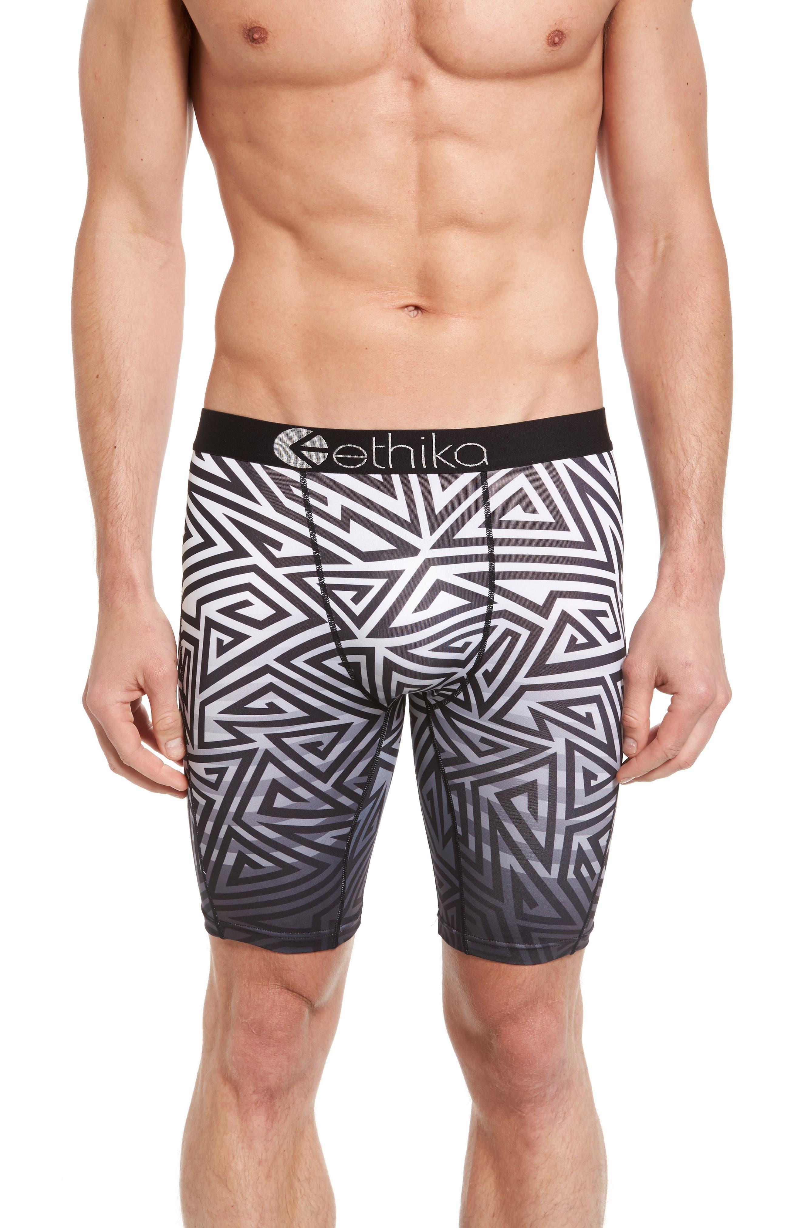 Focus Stretch Boxer Briefs,                         Main,                         color, Black/ White