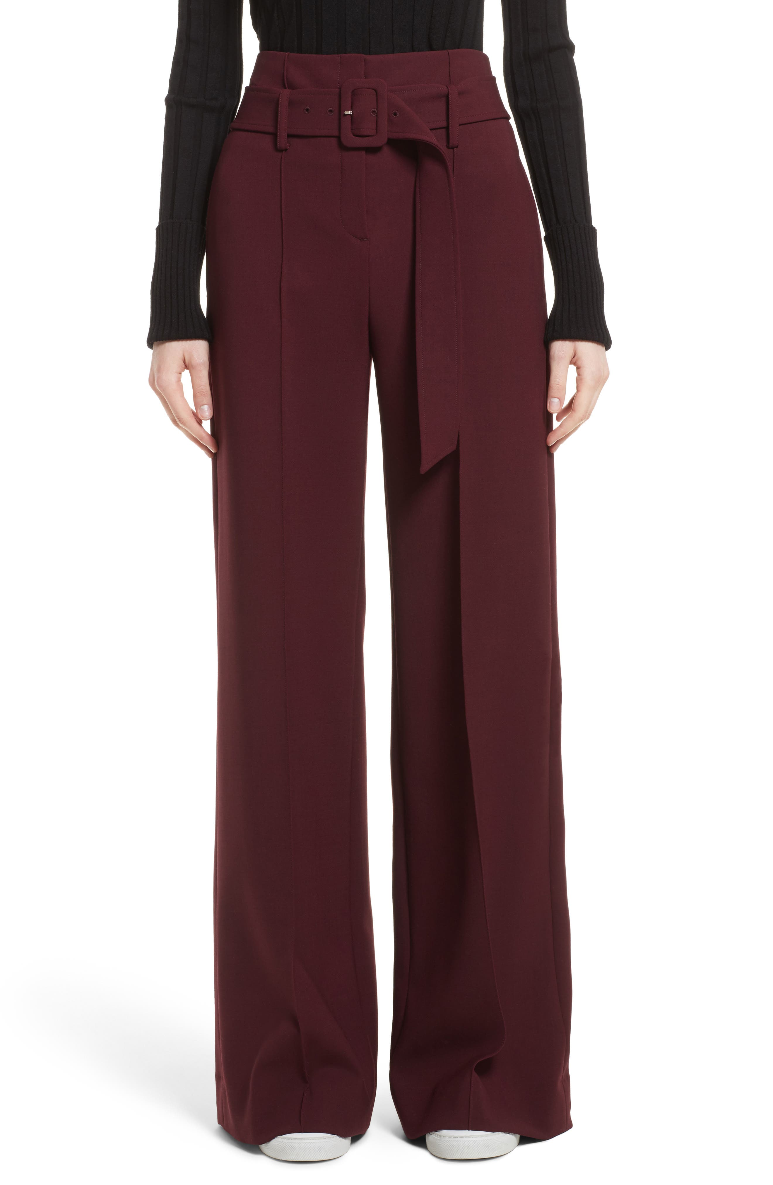 Camogie High Waist Belted Pants,                             Main thumbnail 1, color,                             Dark Currant