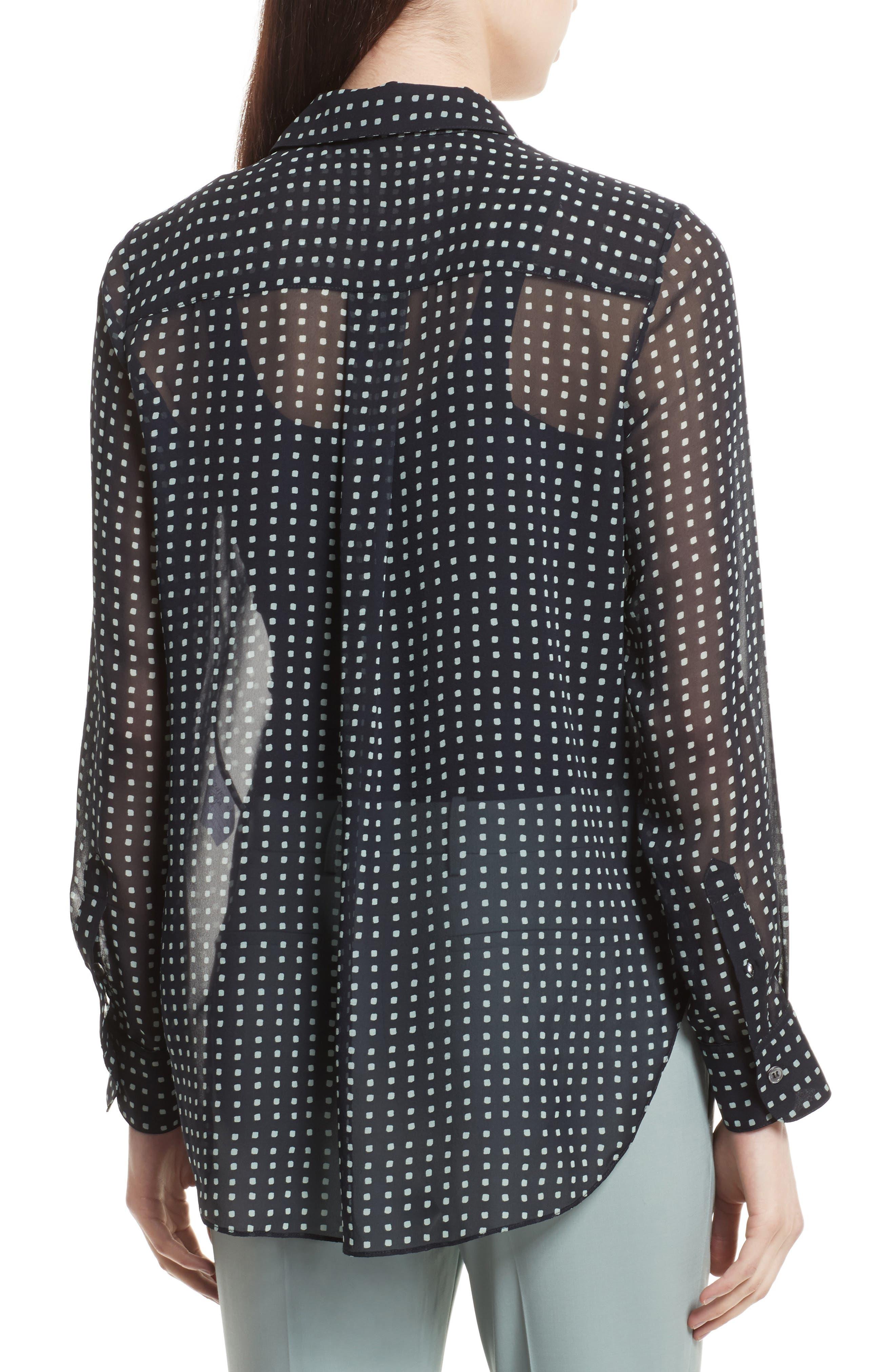 Sunaya Square Silk Chiffon Shirt,                             Alternate thumbnail 2, color,                             Deep Navy Multi