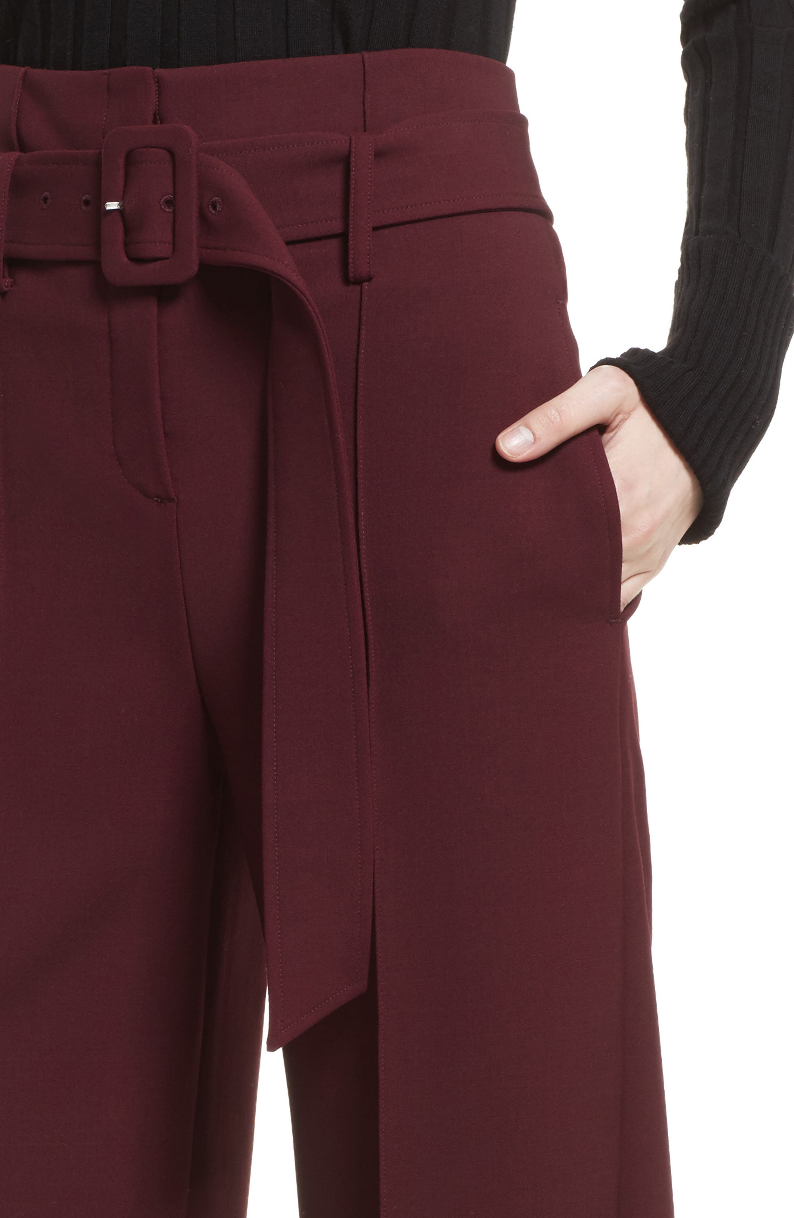 Camogie High Waist Belted Pants,                             Alternate thumbnail 4, color,                             Dark Currant