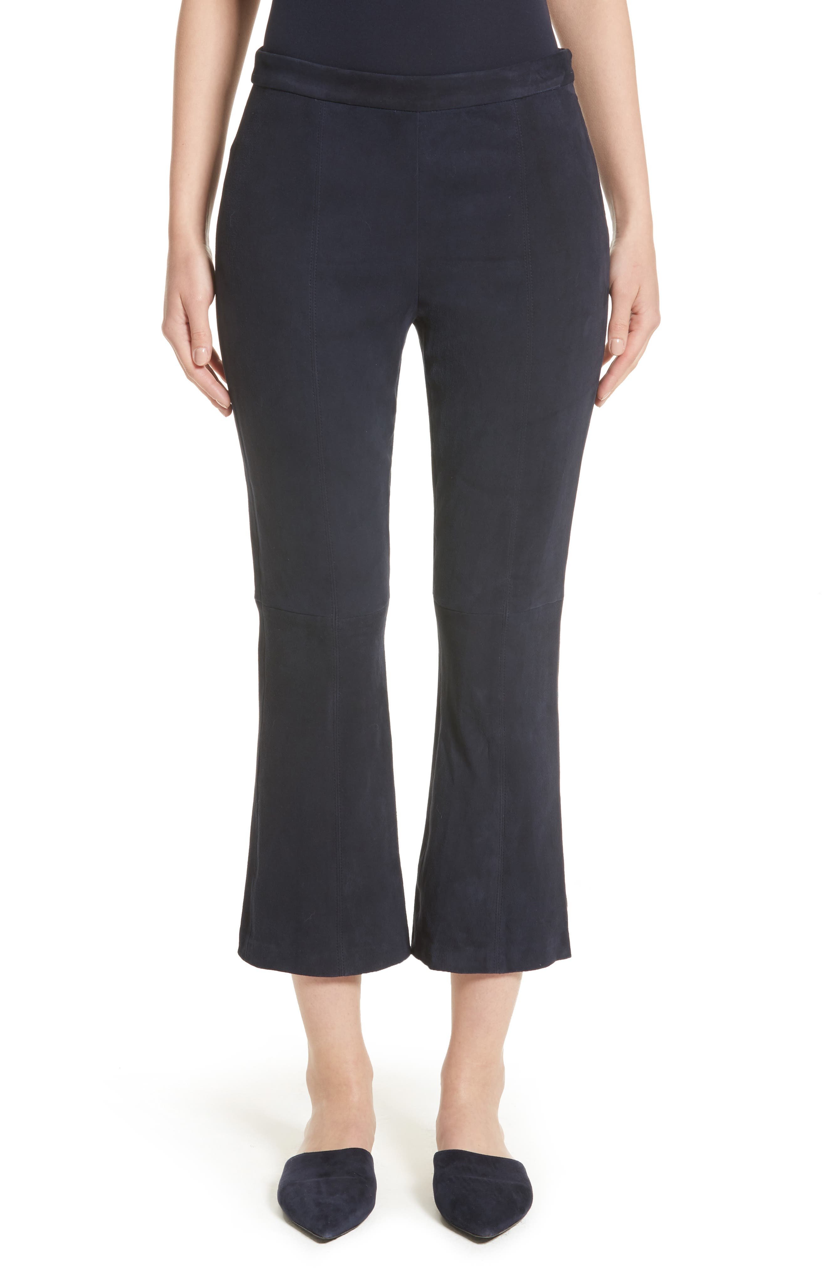 Main Image - St. John Collection Stretch Suede Capri Pants