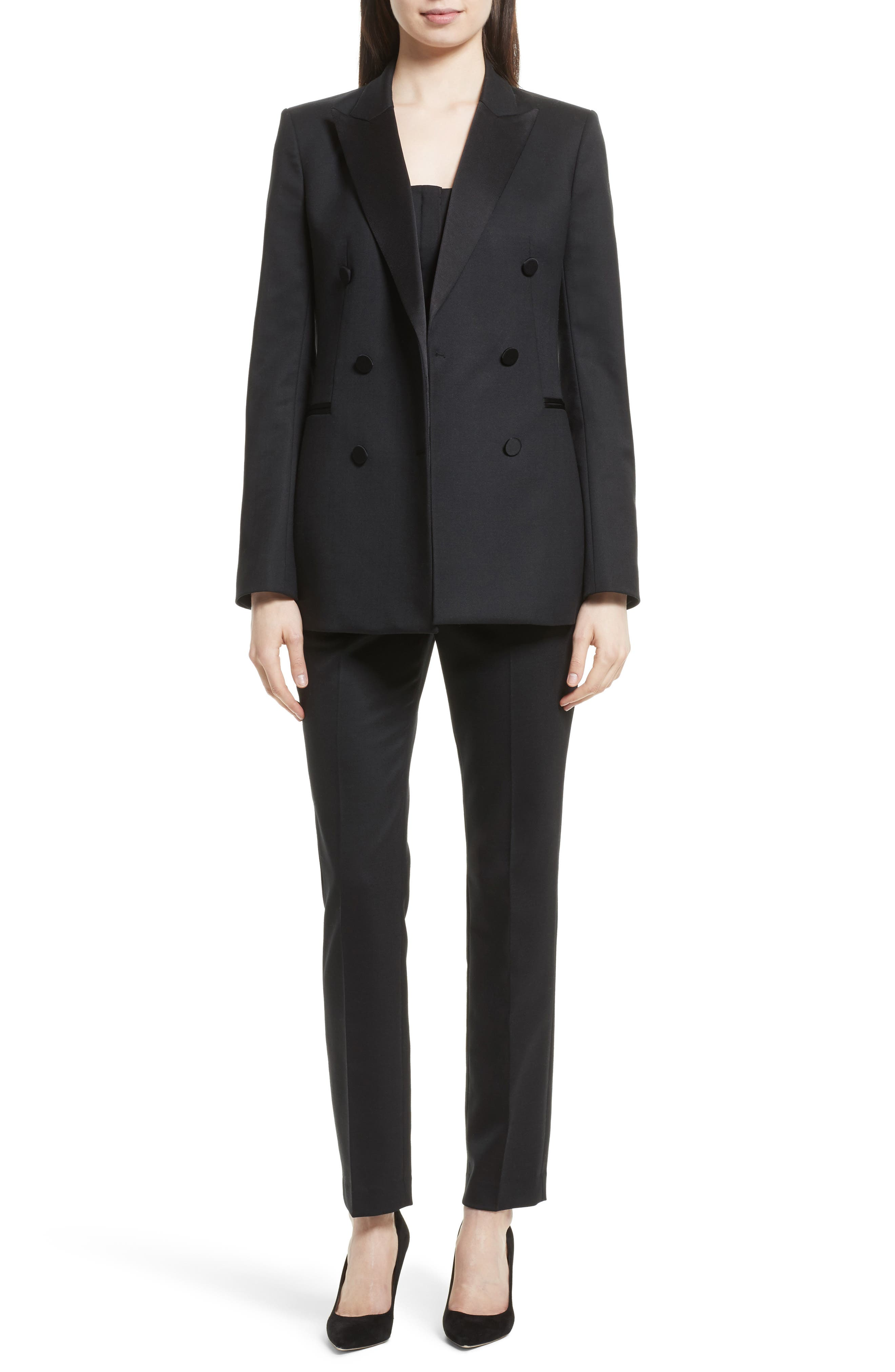 Wool Blend Tuxedo Jacket,                             Alternate thumbnail 6, color,                             Black