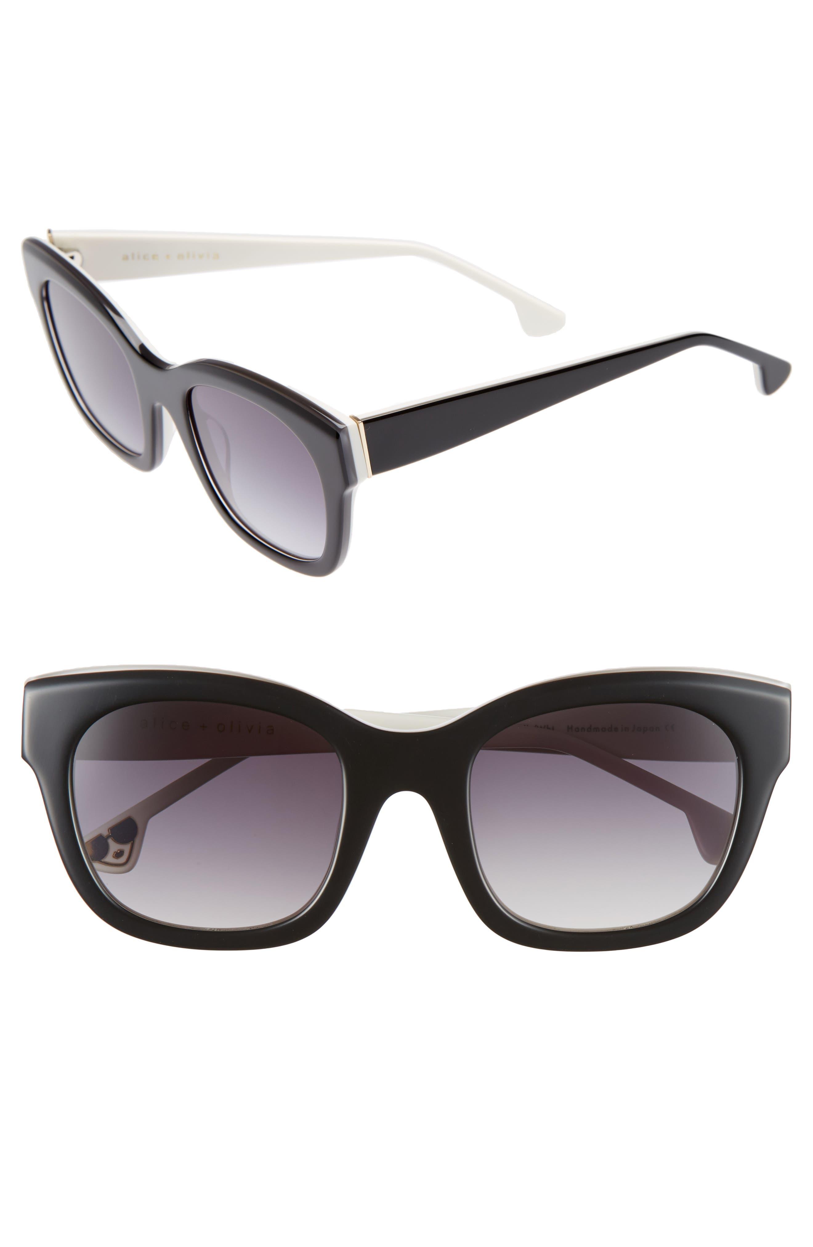Victoria 50mm Cat Eye Sunglasses,                         Main,                         color, Black/ White