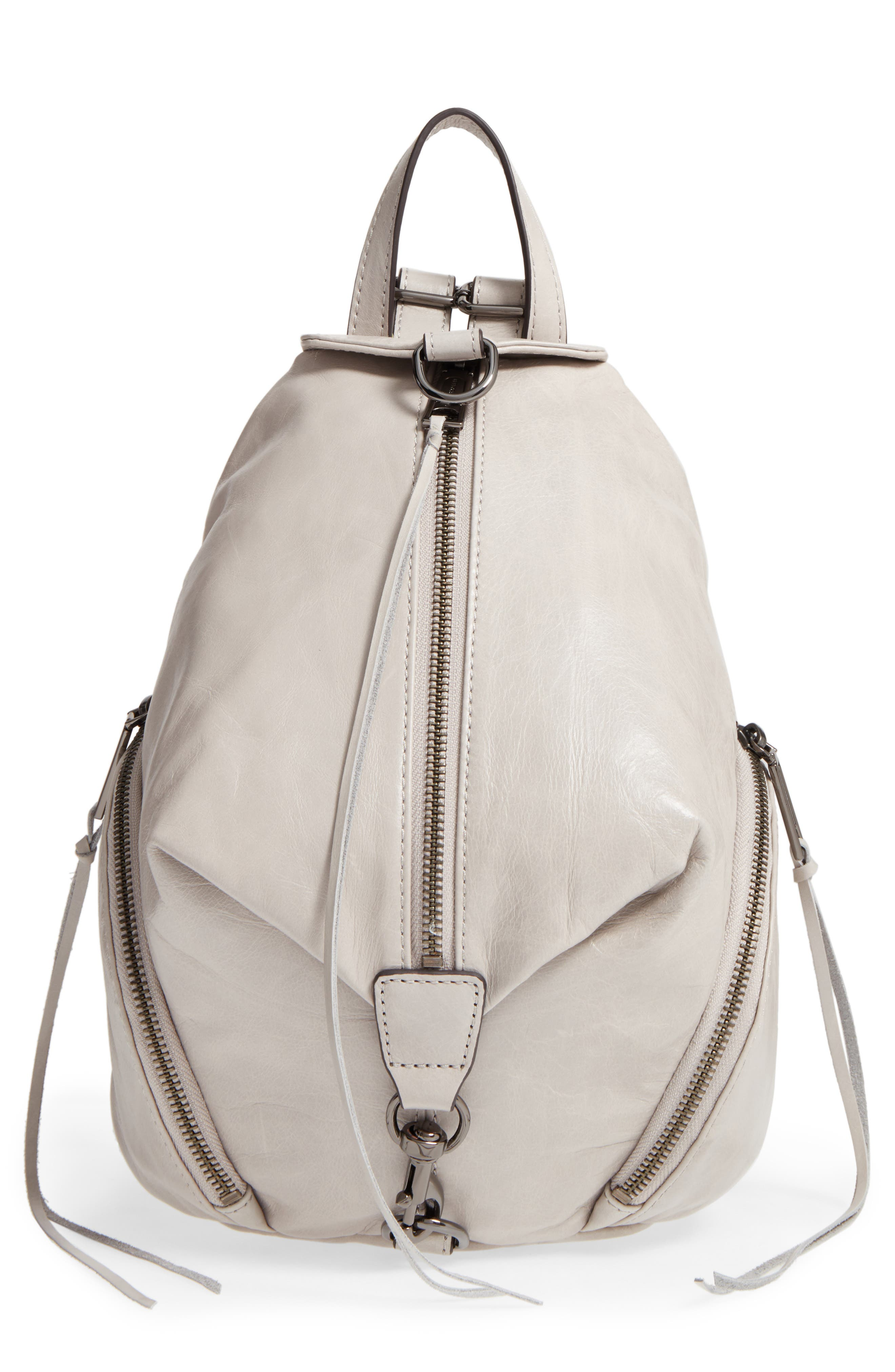 Medium Julian Leather Backpack,                             Main thumbnail 1, color,                             Putty/ Gunmetal