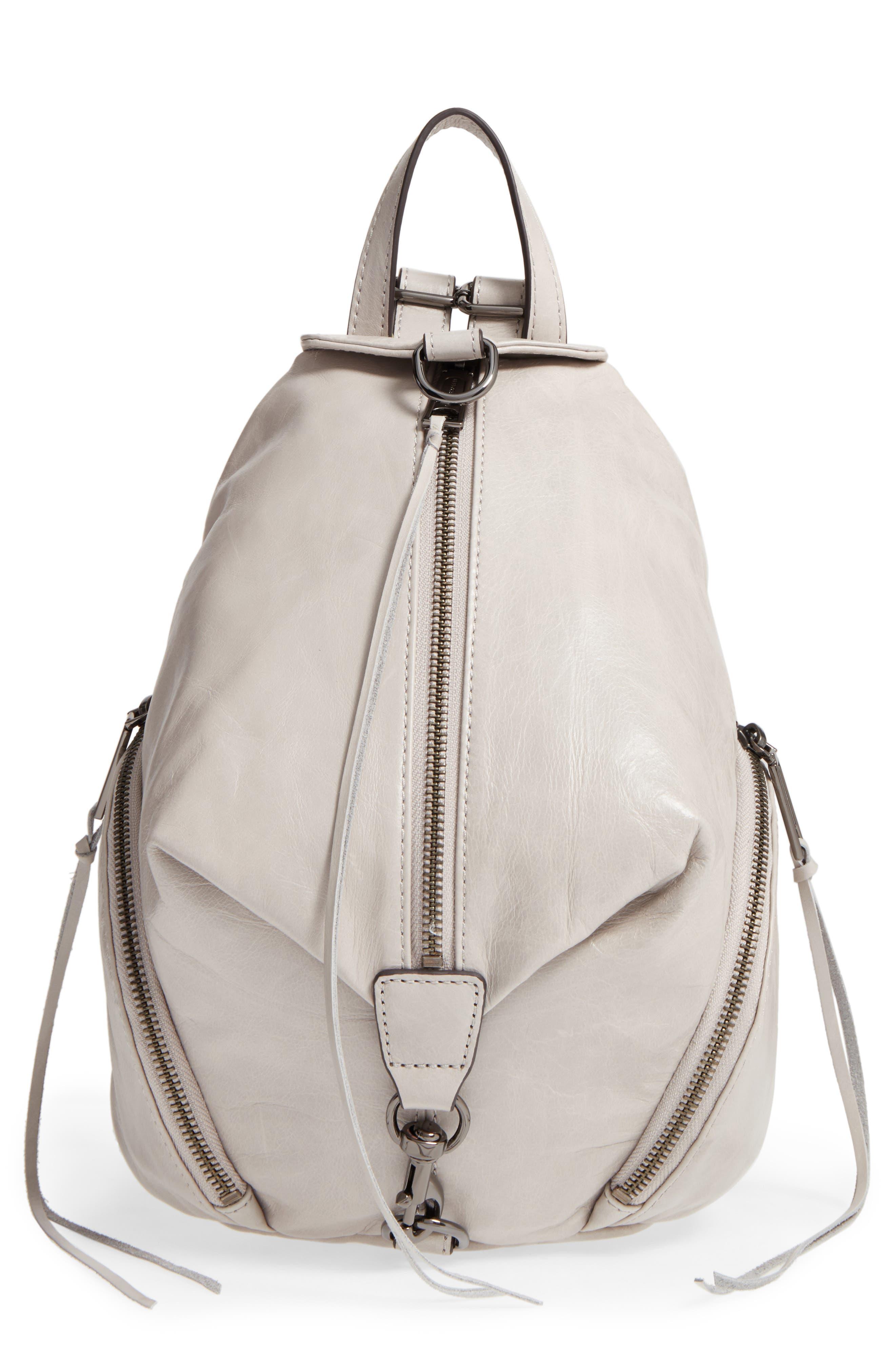 Medium Julian Leather Backpack,                         Main,                         color, Putty/ Gunmetal