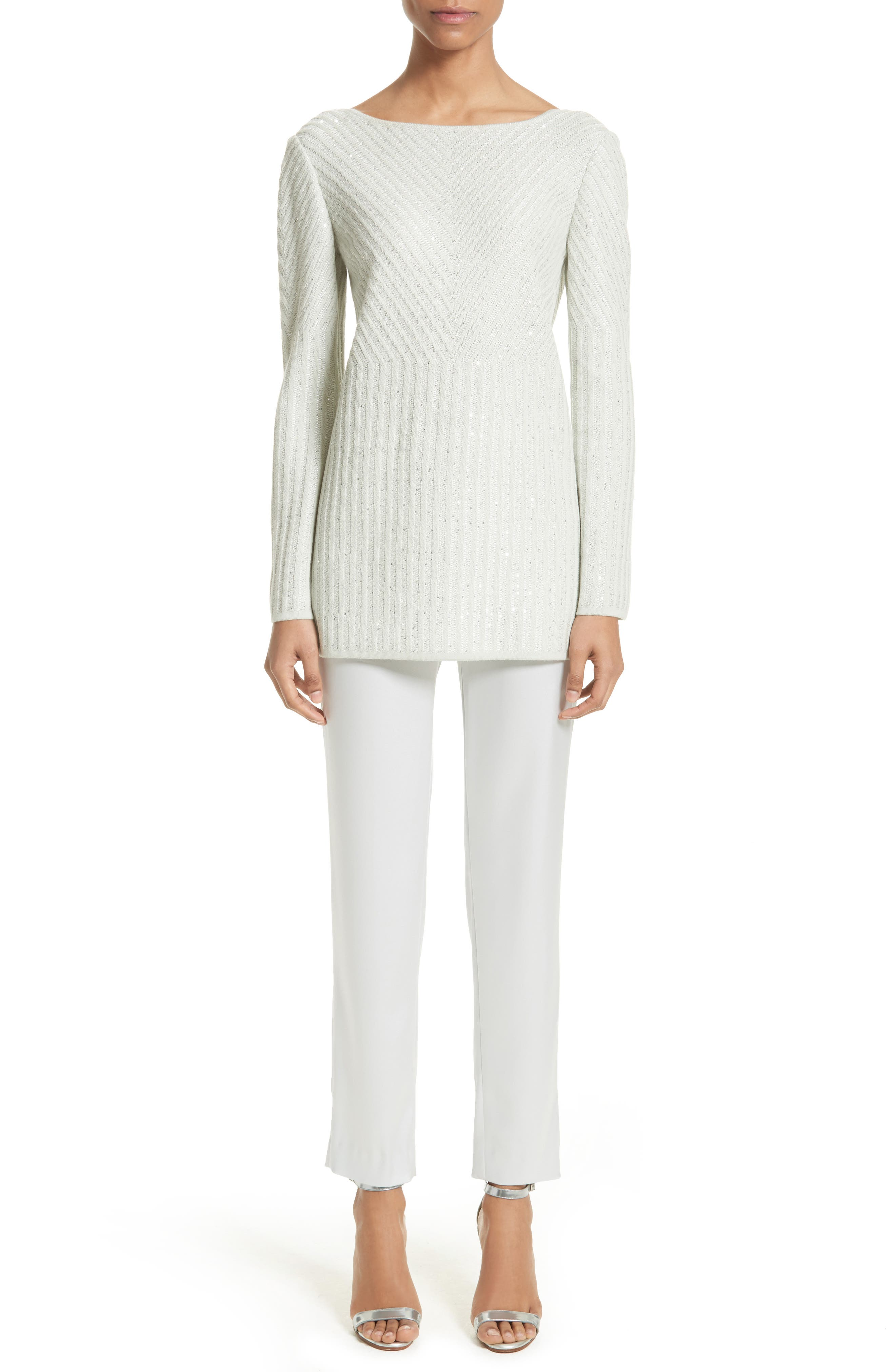 Alternate Image 7  - St. John Collection Sparkle Engineered Rib Sweater