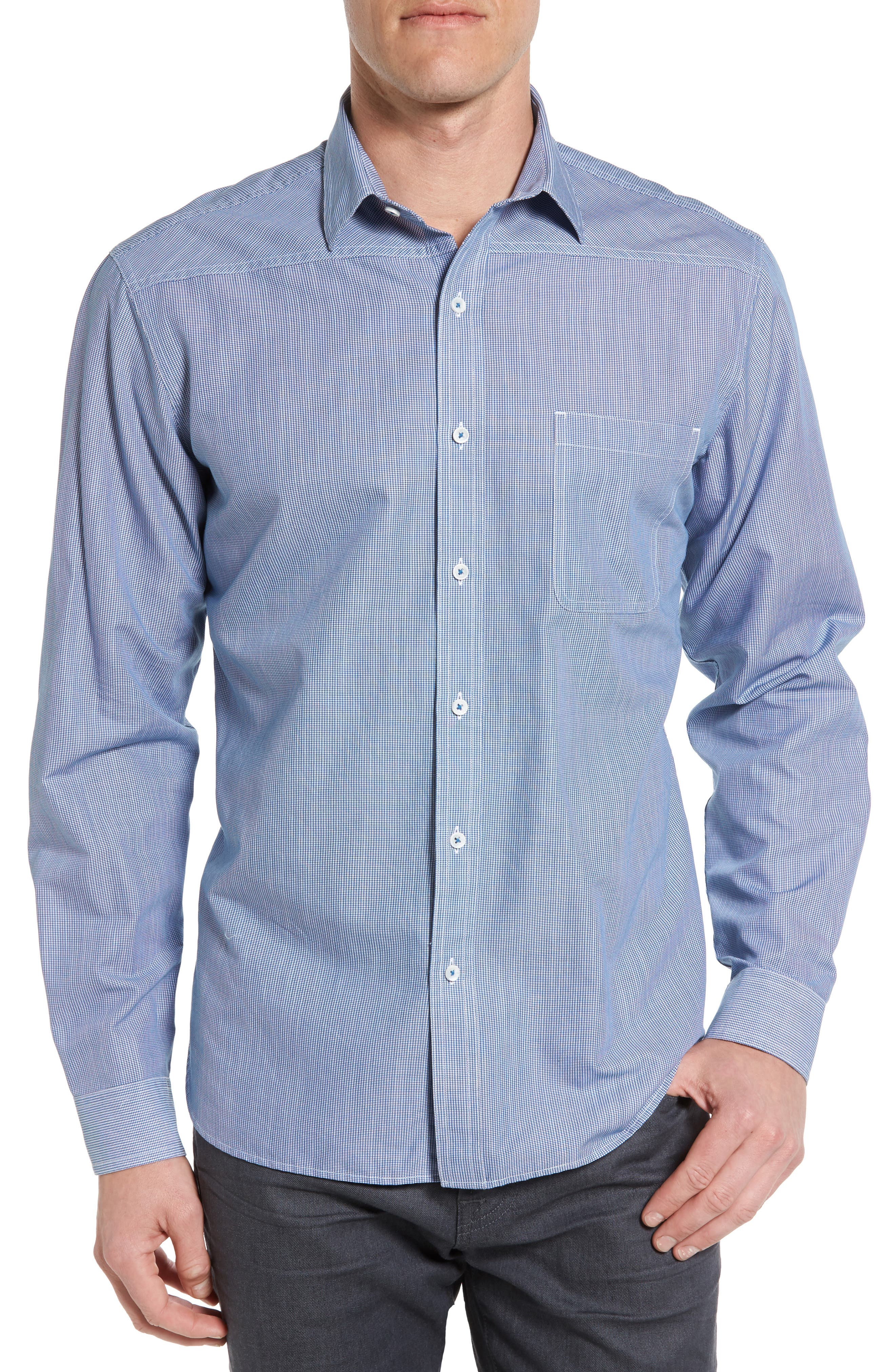 Maker & Company Tailored Fit Micro Check Sport Shirt
