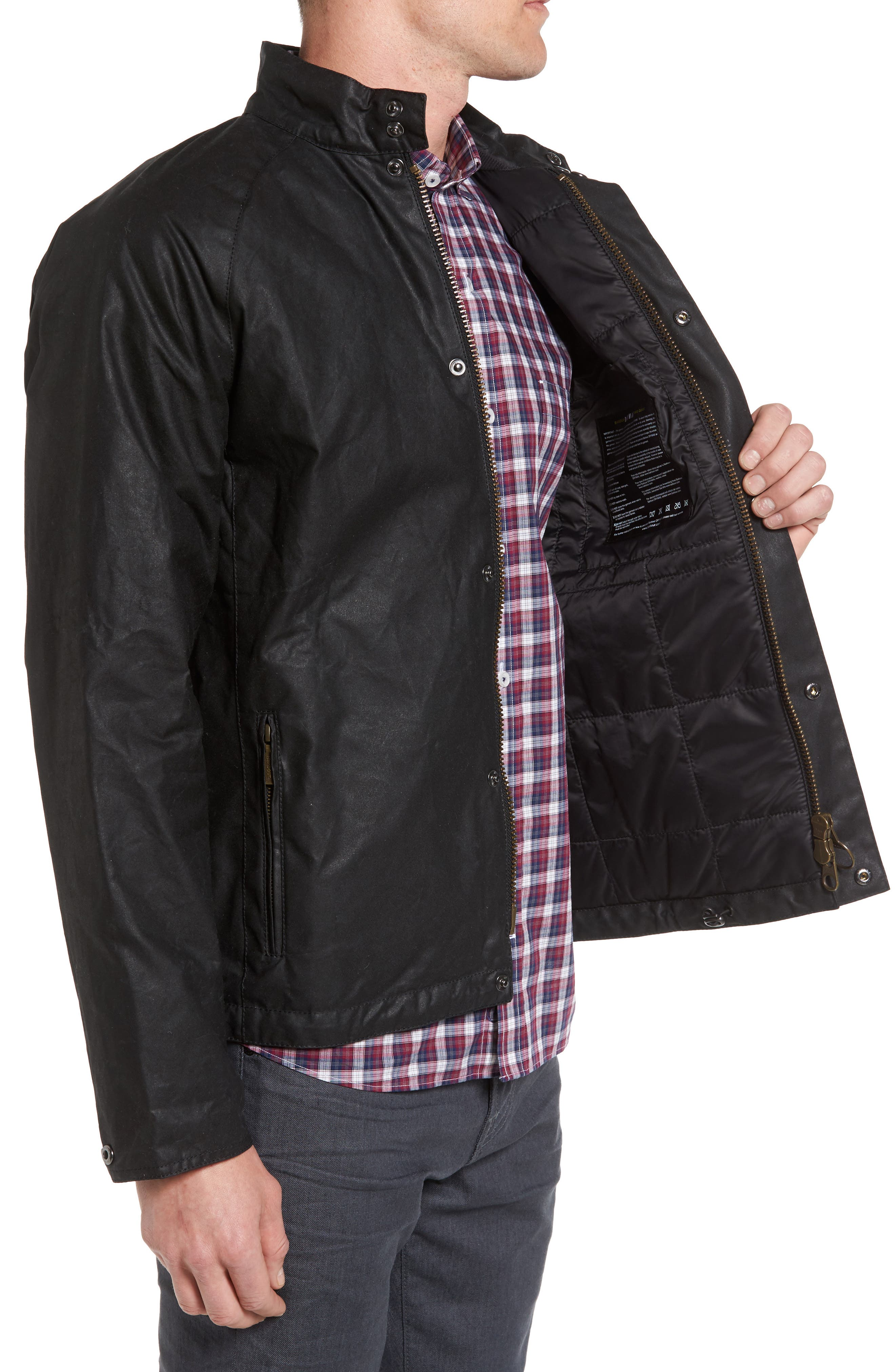 Chrome Slim Fit Water Repellent Jacket,                             Alternate thumbnail 3, color,                             Black