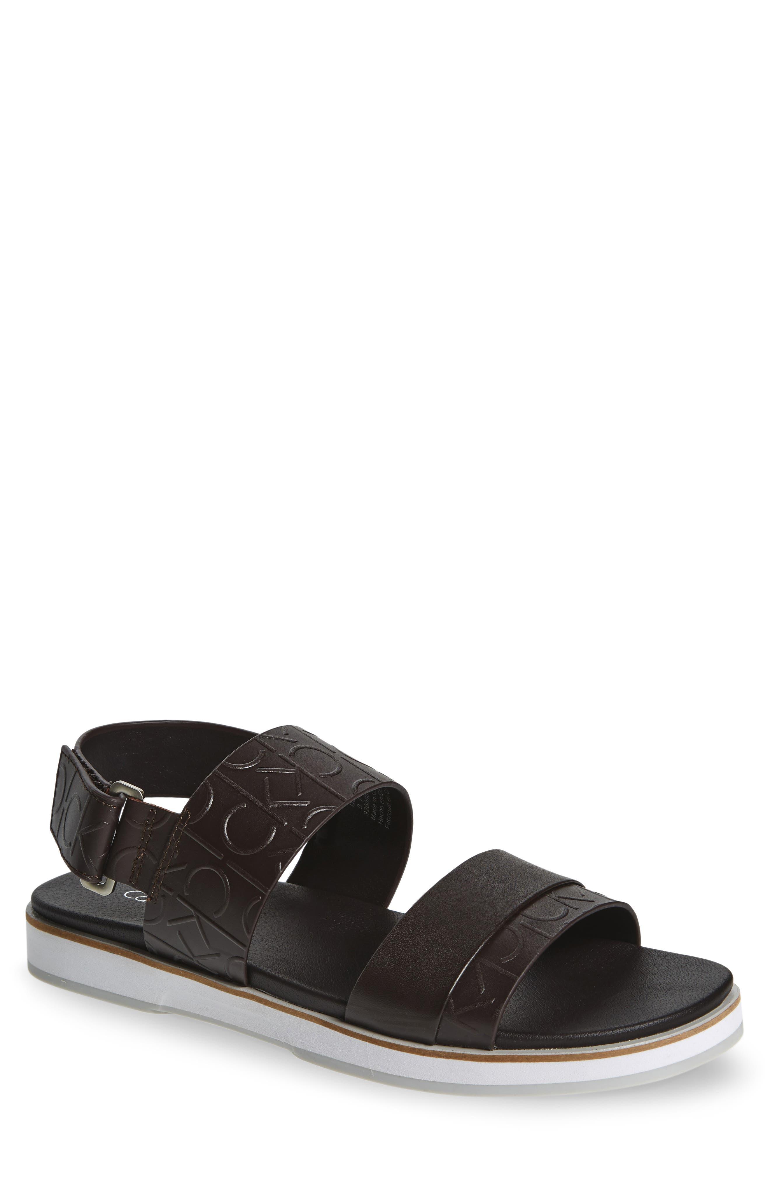Calvin Klein 'Dex' Embossed Leather Sandal (Men)