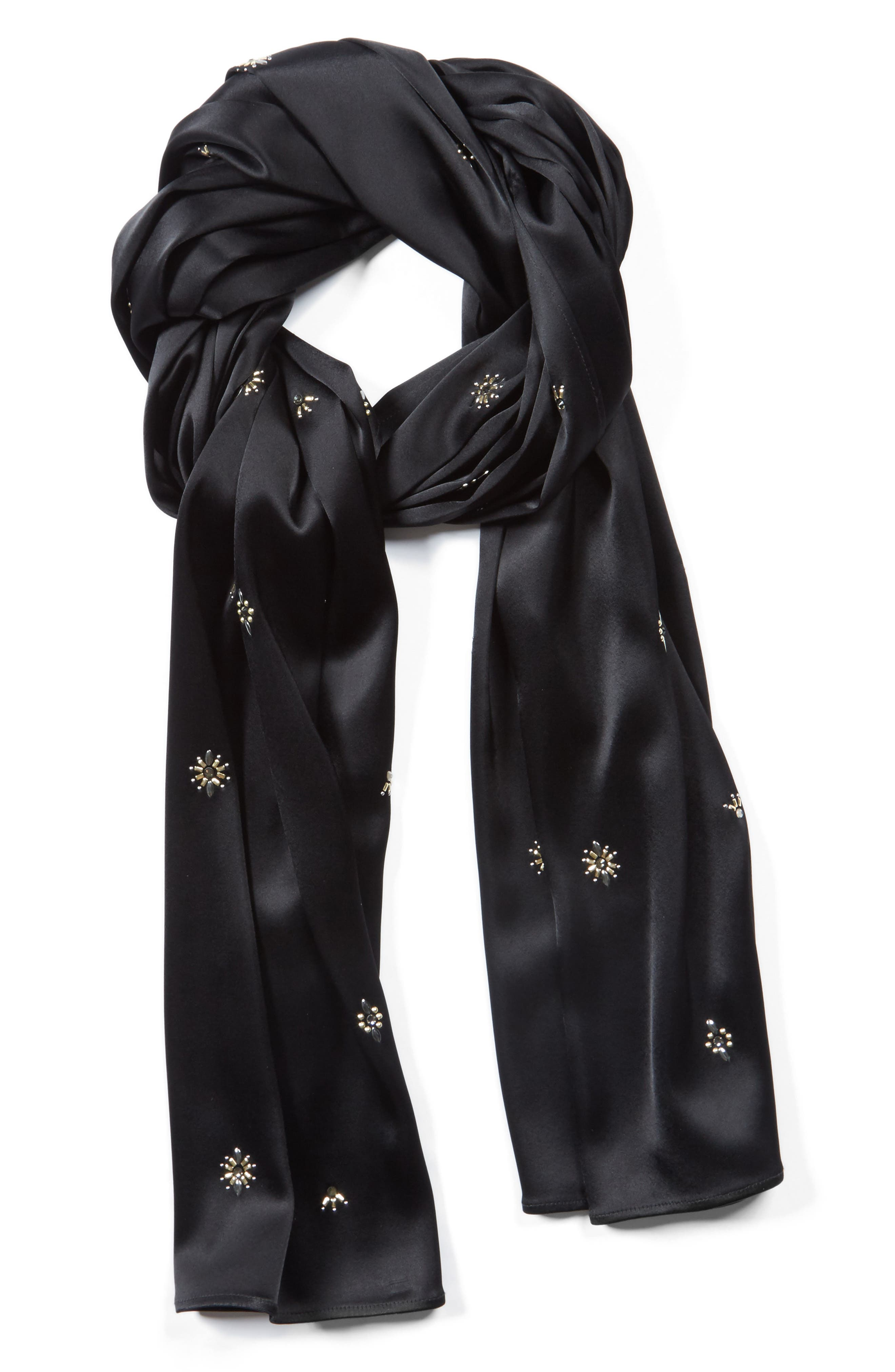 Embellished Liquid Satin Wrap,                         Main,                         color, Caviar