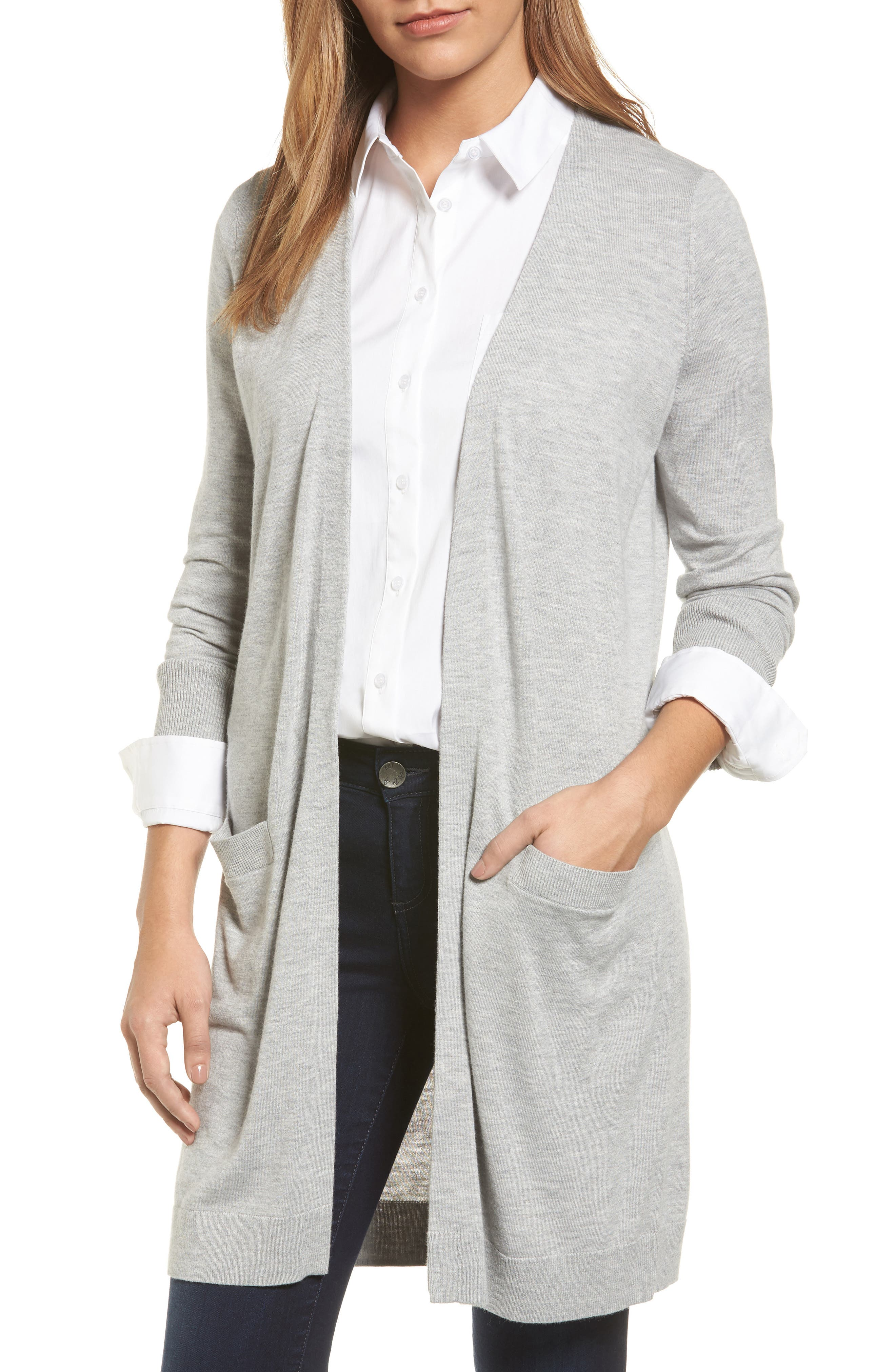 Alternate Image 1 Selected - Halogen® Long Open Front Cardigan (Regular & Petite)