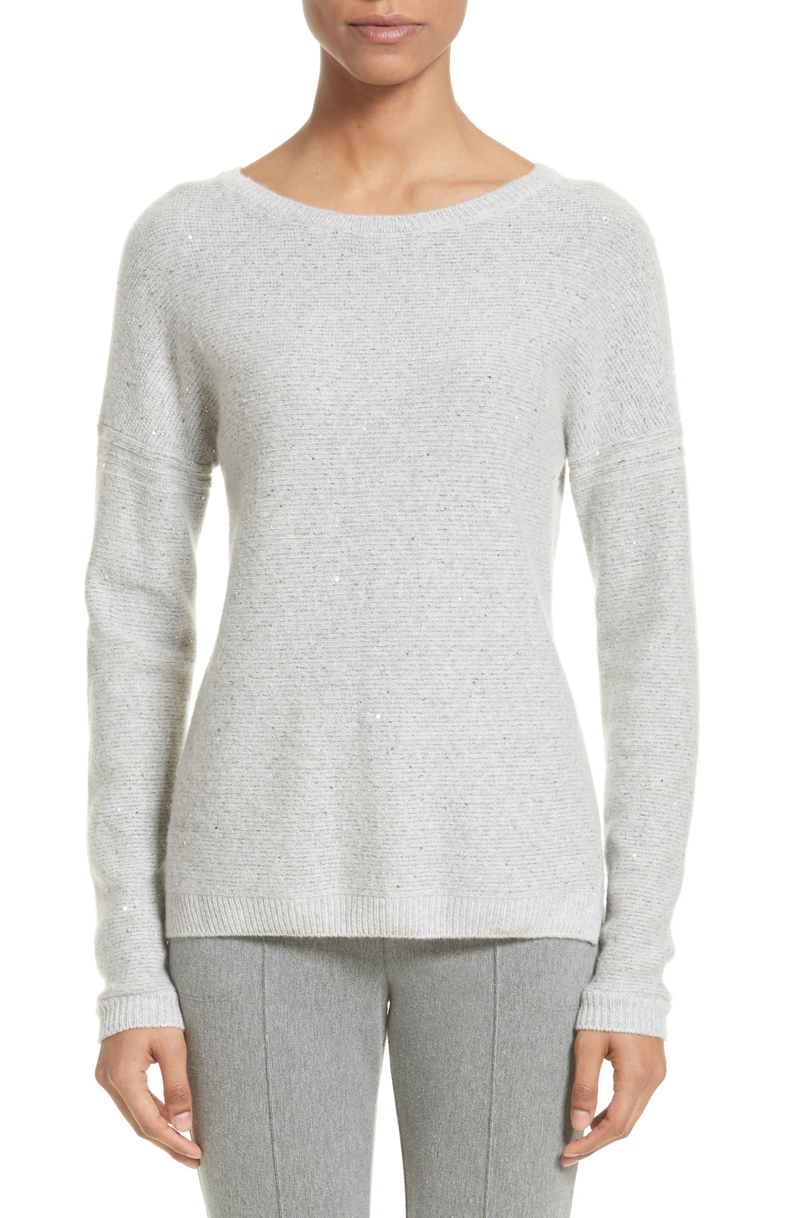 Micro Sequin Stripe Reverse Jersey Cashmere Blend Sweater,                         Main,                         color, Light Grey Melange
