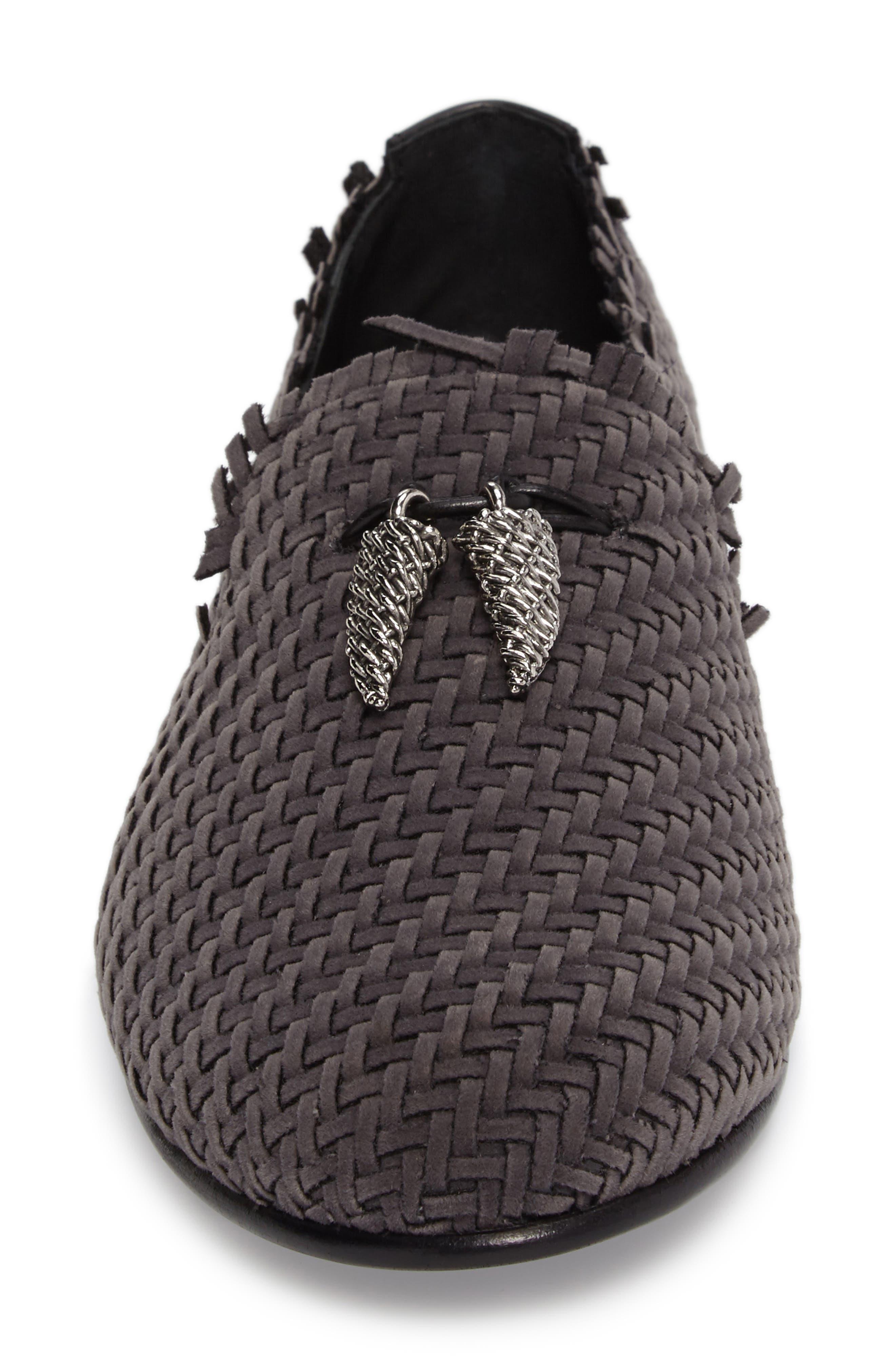 Basketweave Venetian Loafer,                             Alternate thumbnail 4, color,                             Fred Fumo/ Slate Grey