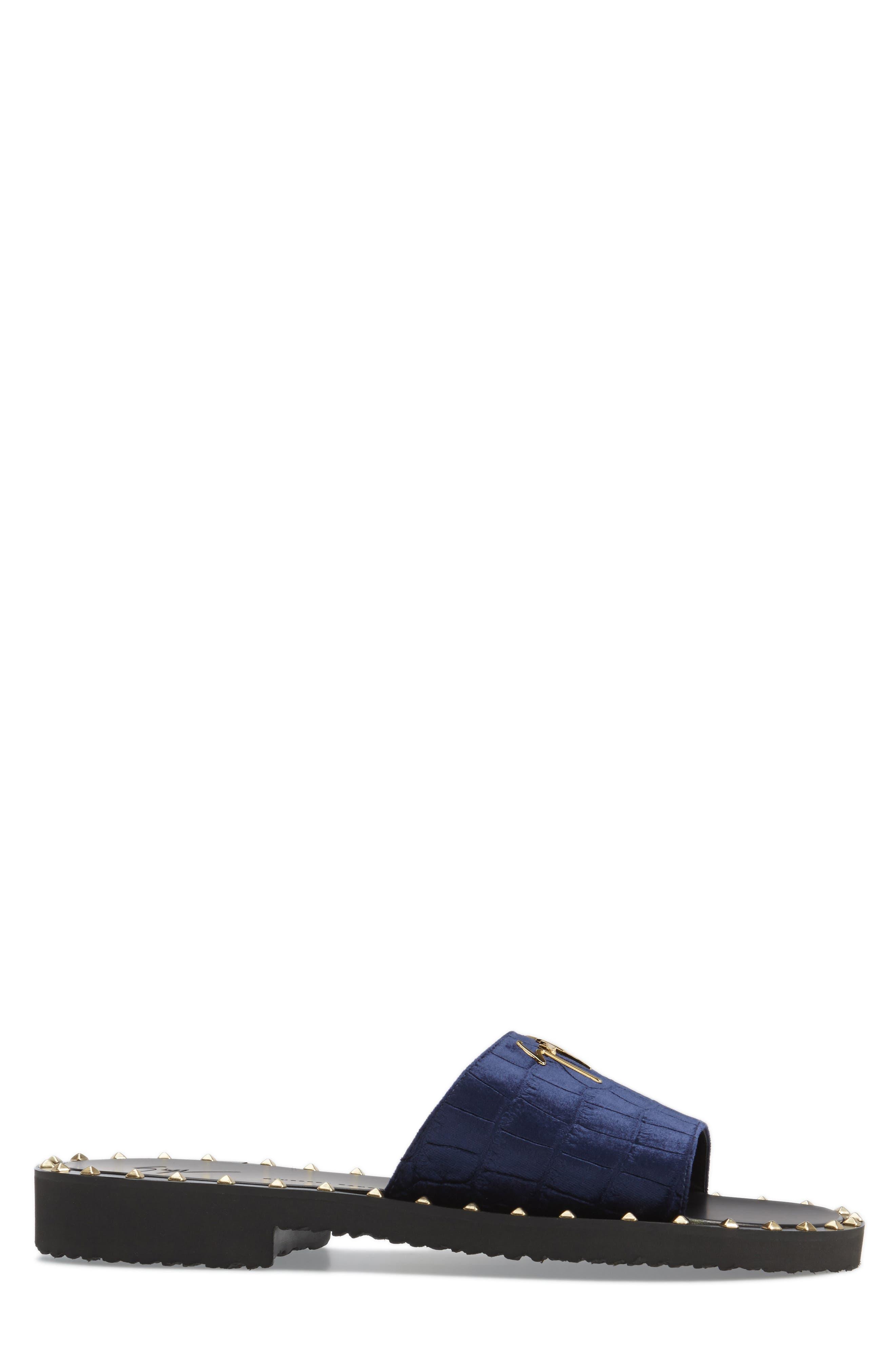 Studded Slide Sandal,                             Alternate thumbnail 3, color,                             Navy
