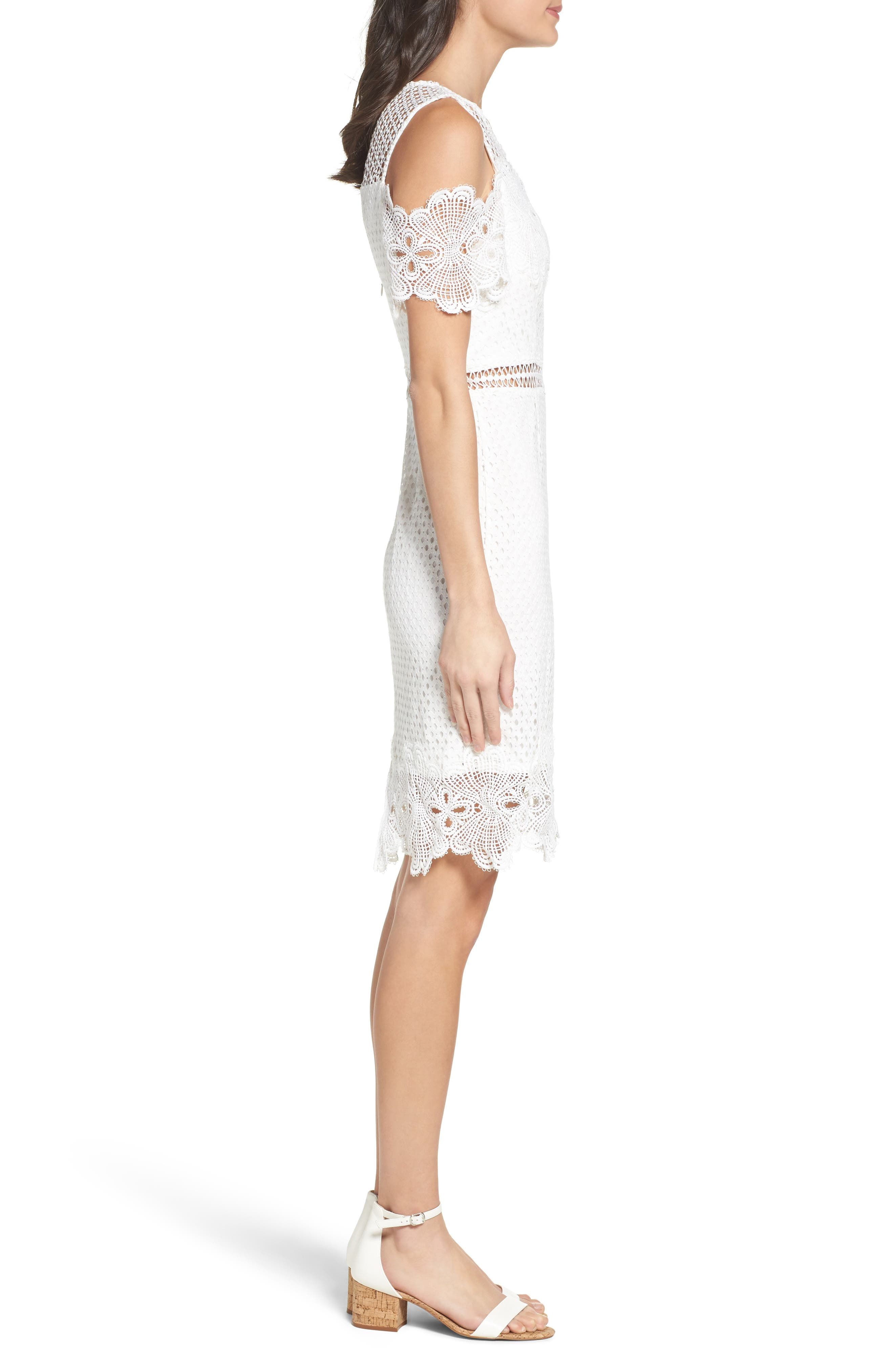 Cold Shoulder Lace Dress,                             Alternate thumbnail 3, color,                             White