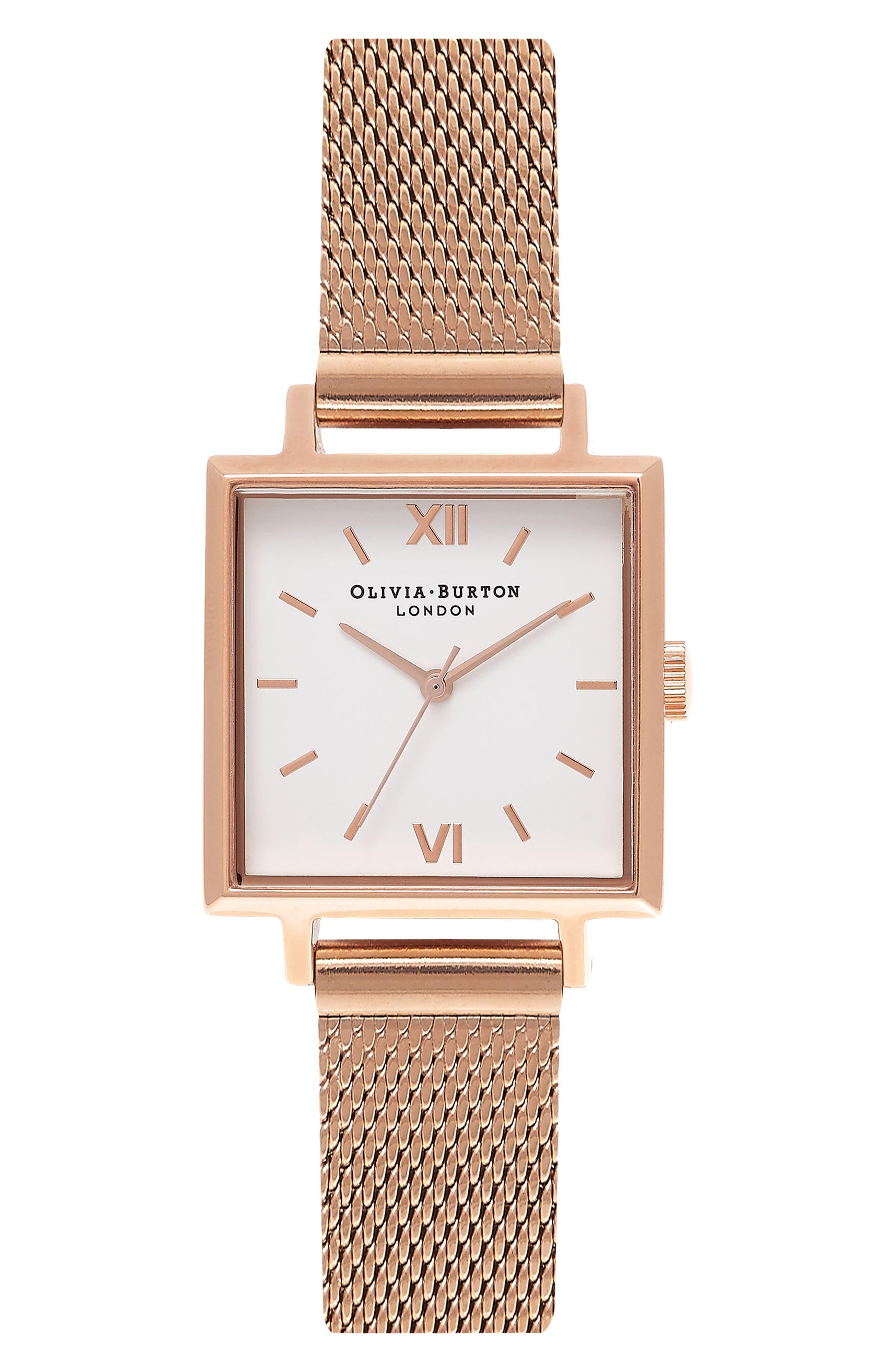 Midi Square Mesh Strap Watch, 22.5mm,                             Main thumbnail 1, color,                             Rose Gold/ White/ Rose Gold