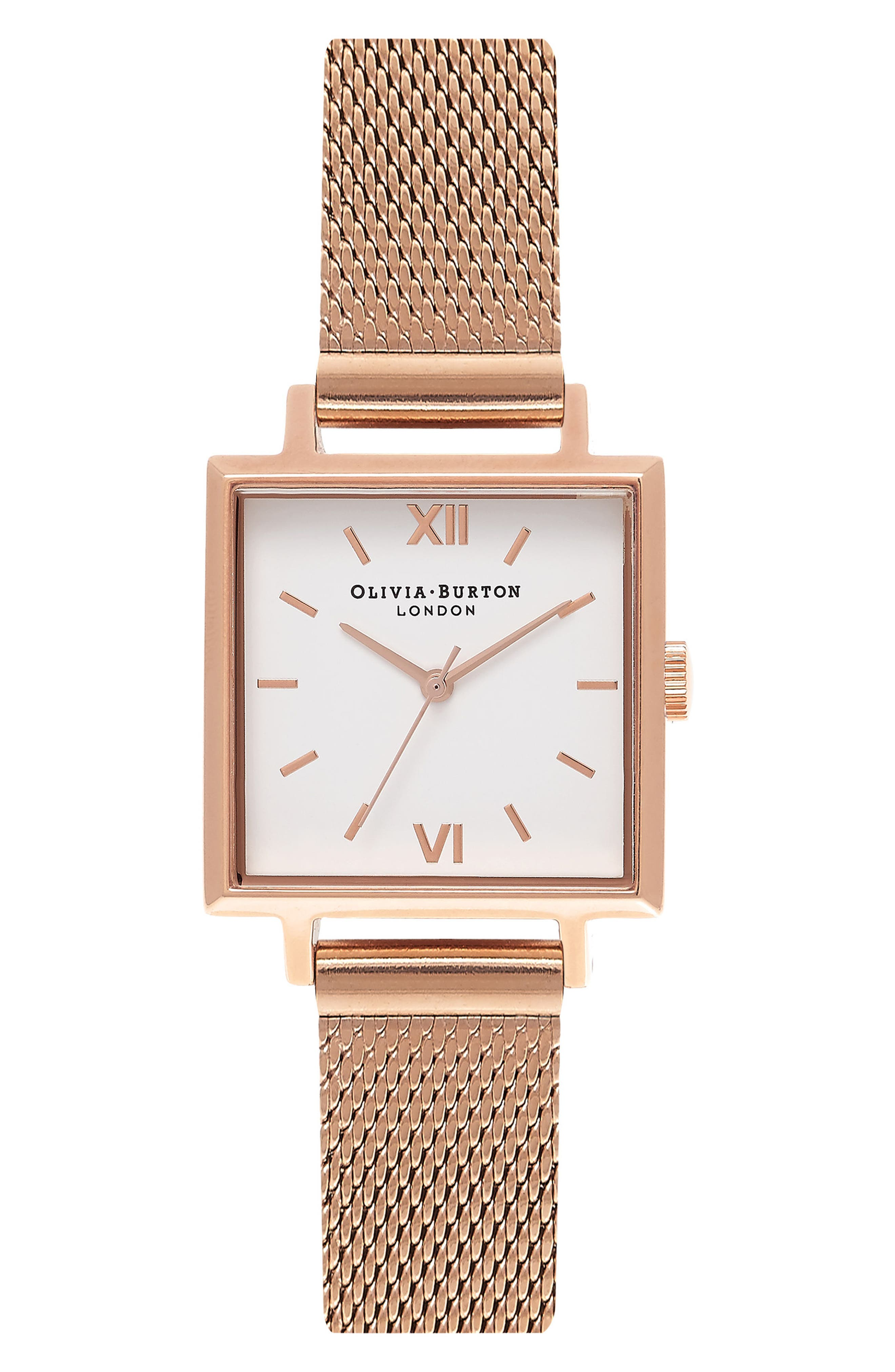Midi Square Mesh Strap Watch, 22.5mm,                         Main,                         color, Rose Gold/ White/ Rose Gold