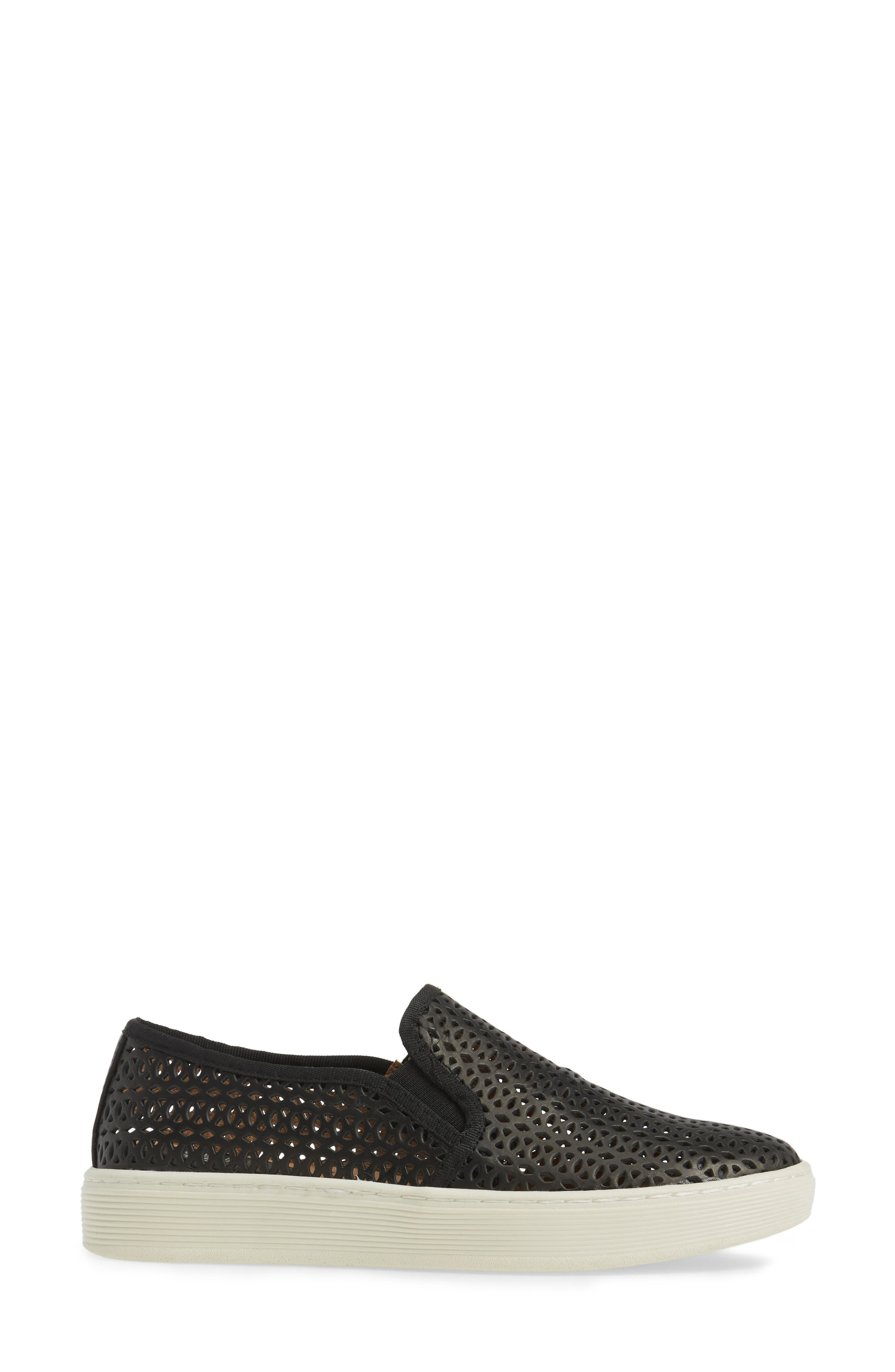 Somers II Slip-on Sneaker,                             Alternate thumbnail 3, color,                             Black Perforated Leather
